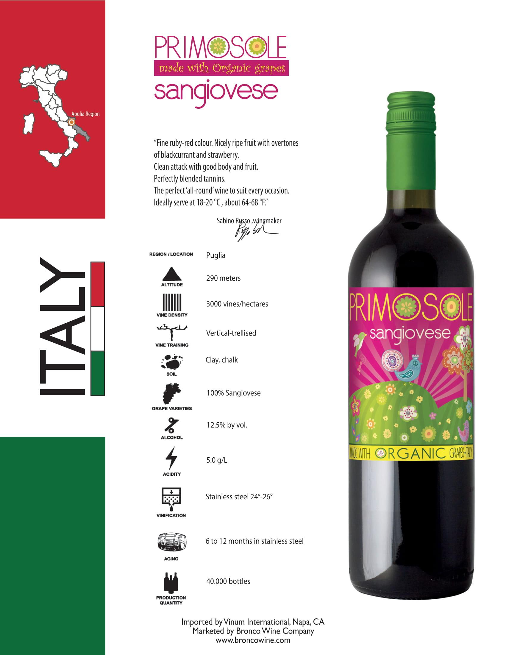 PrimoSole Sangiovese Tech Sheet