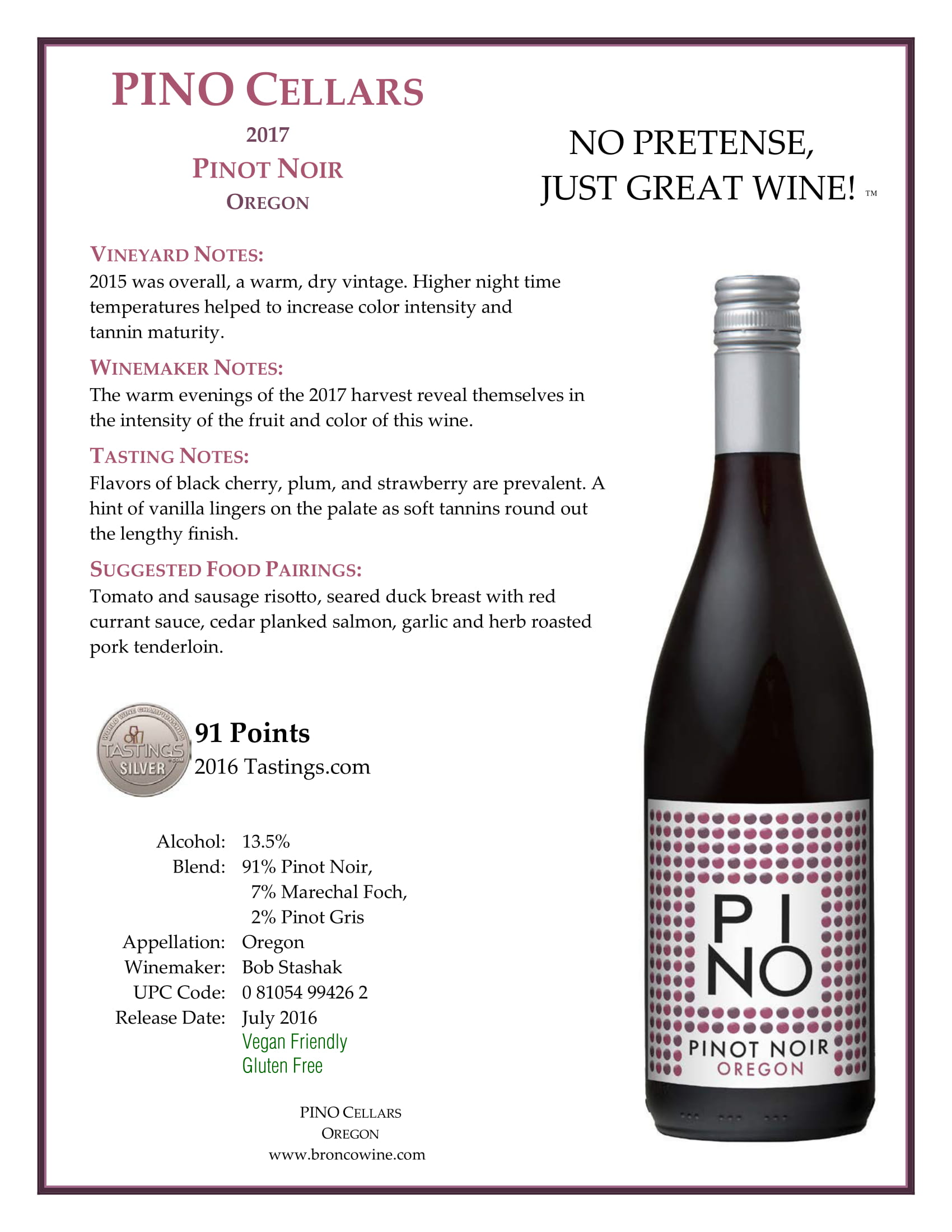 PINO Cellars Pinot Noir Tech Sheet