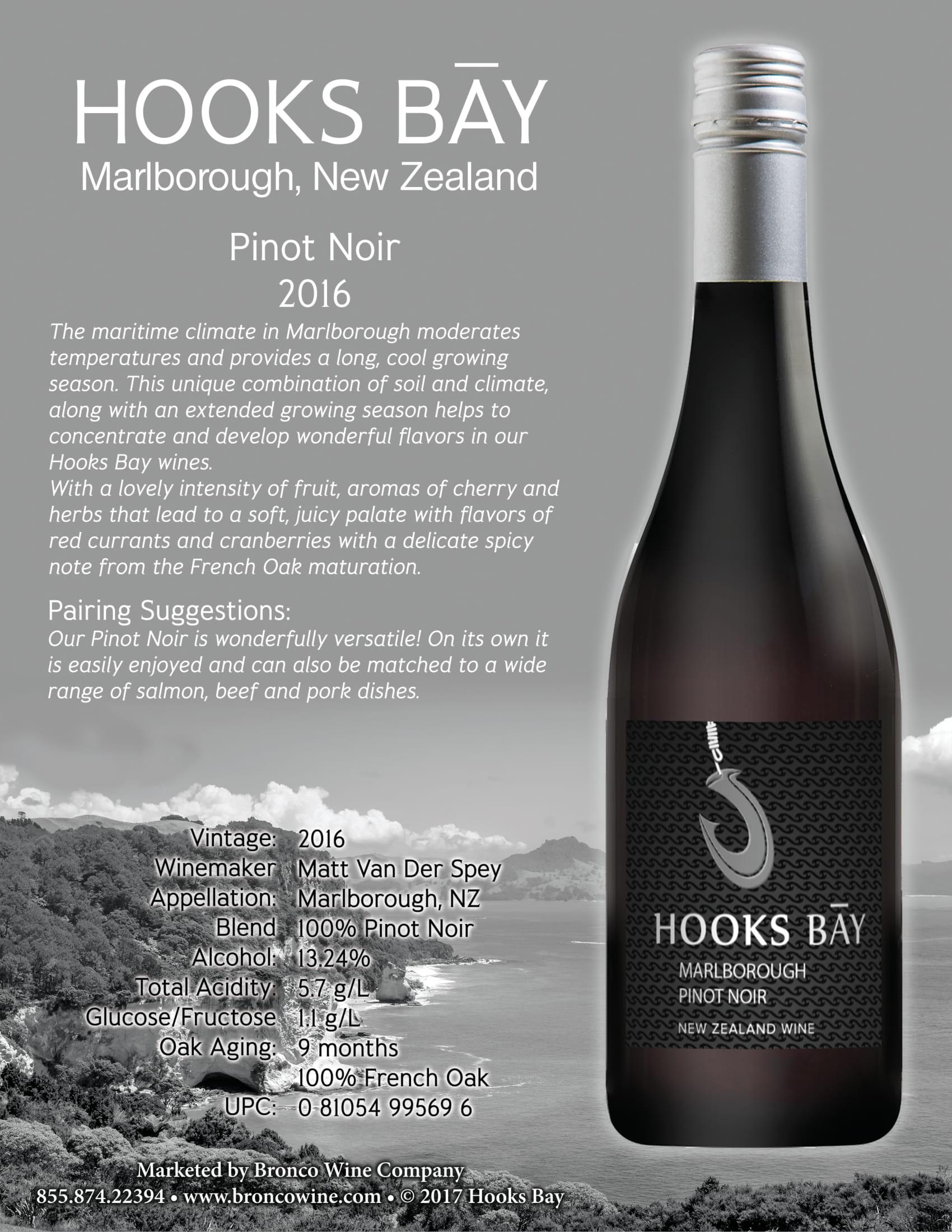 Hooks Bay Pinot Noir Tech Sheet