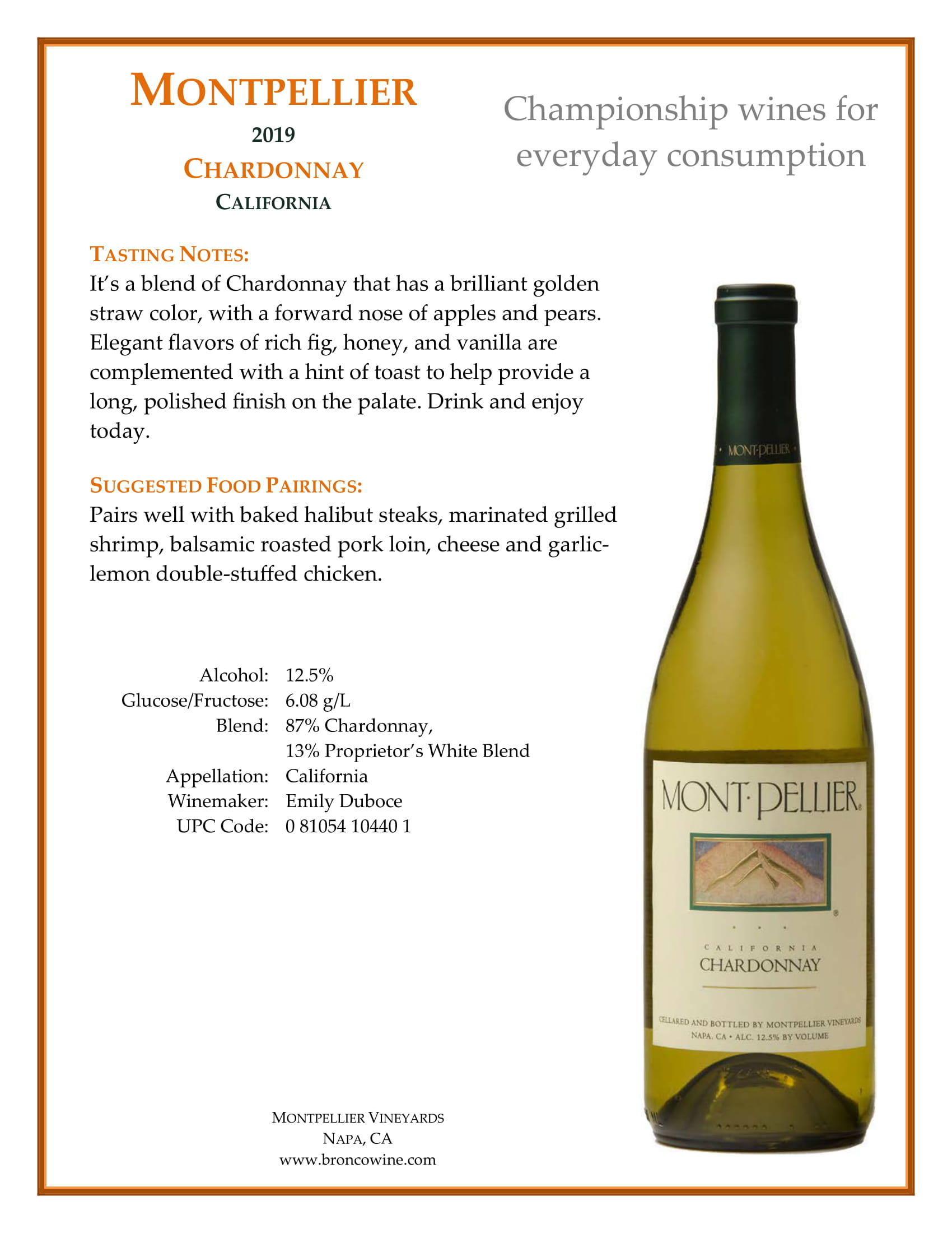 Montpellier Chardonnay Tech Sheets