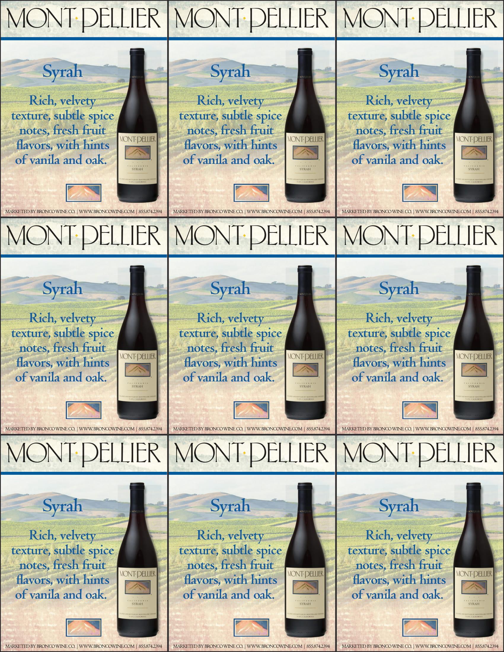 Montpellier Syrah Shelf Talker