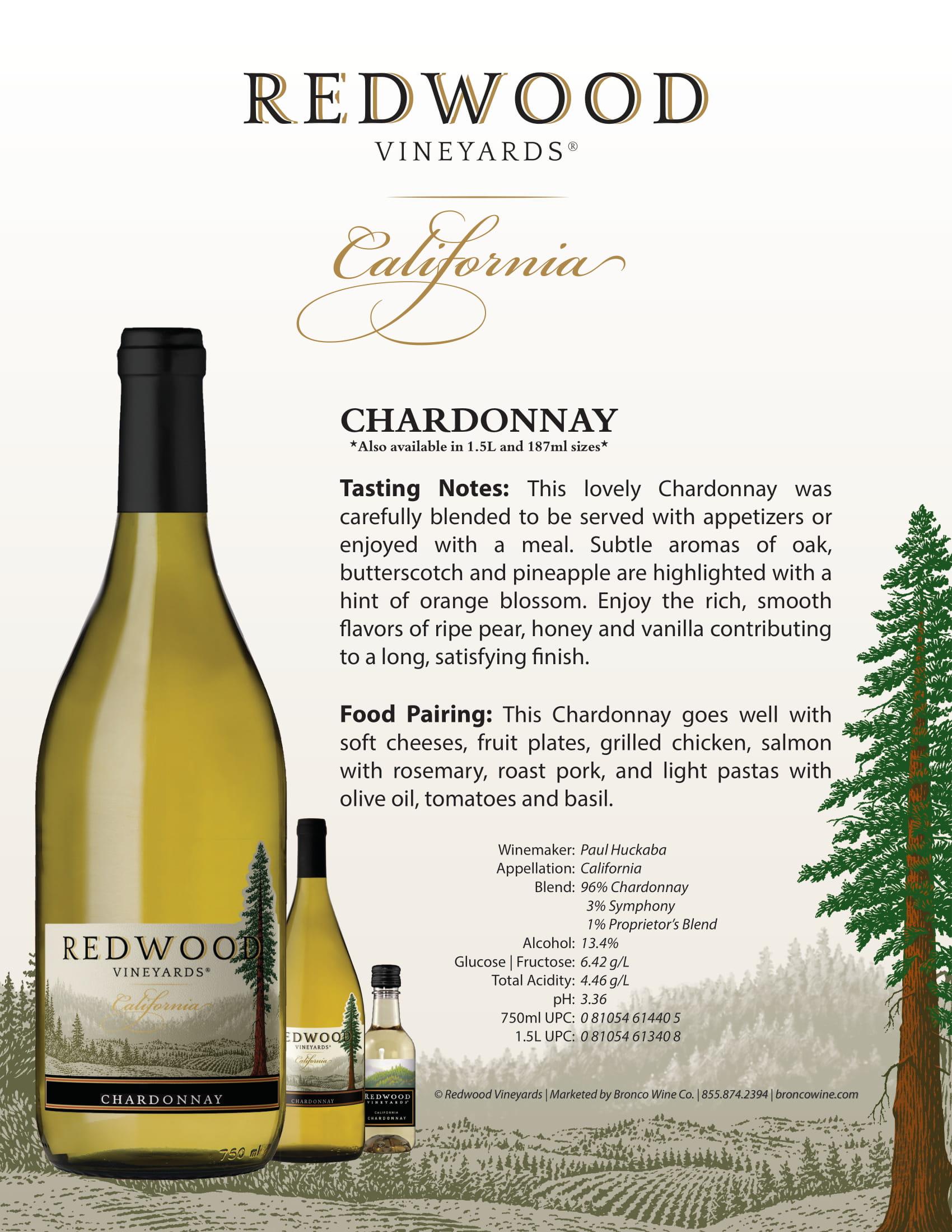 Redwood Vineyards Chardonnay Sell Sheet