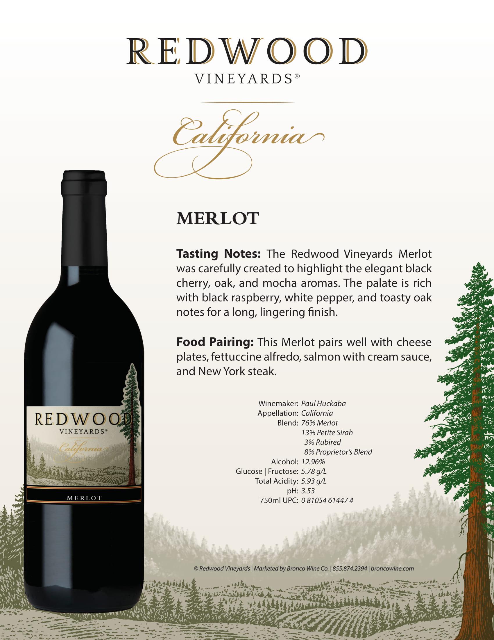 Redwood Vineyards Merlot Sell Sheet
