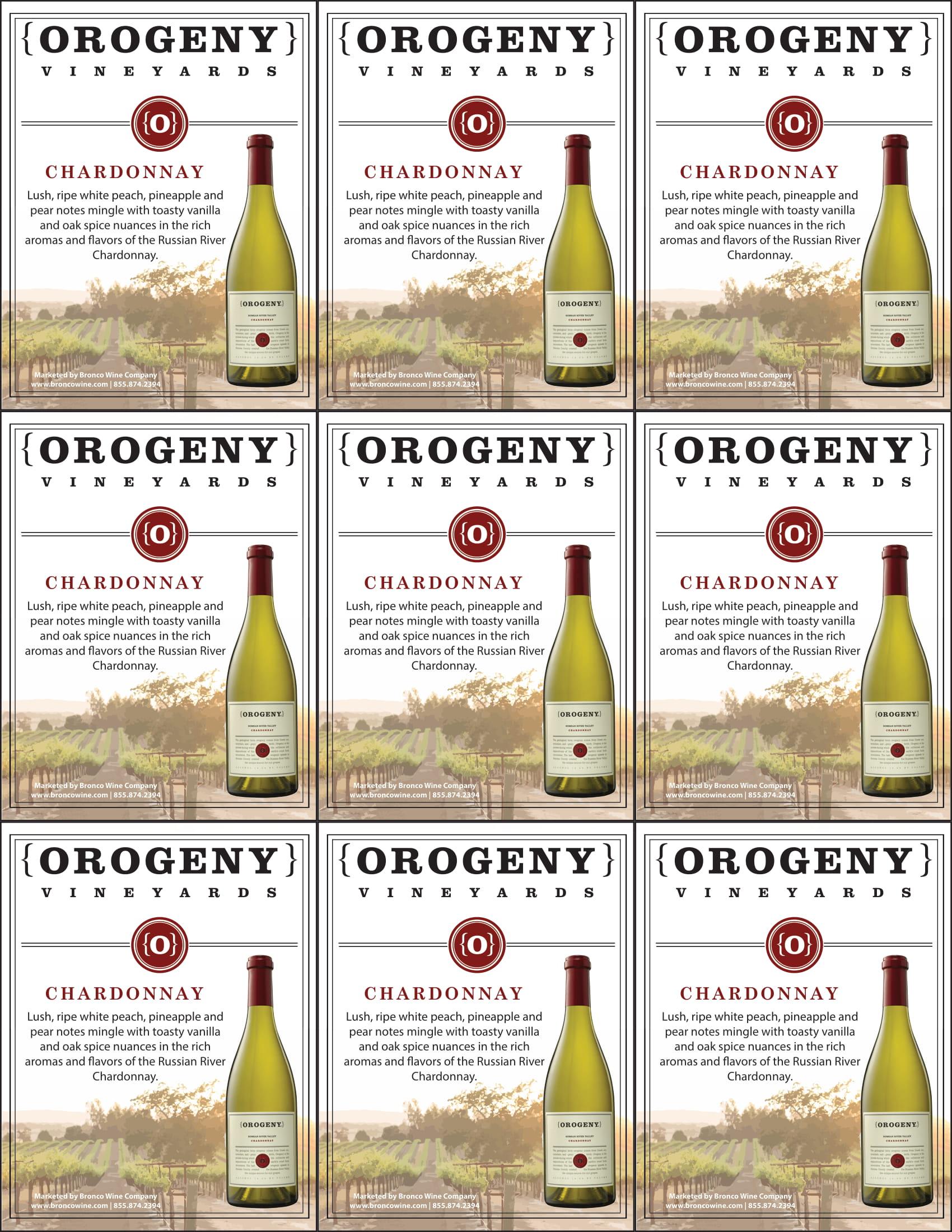 Orogeny Chardonnay Shelf Talker