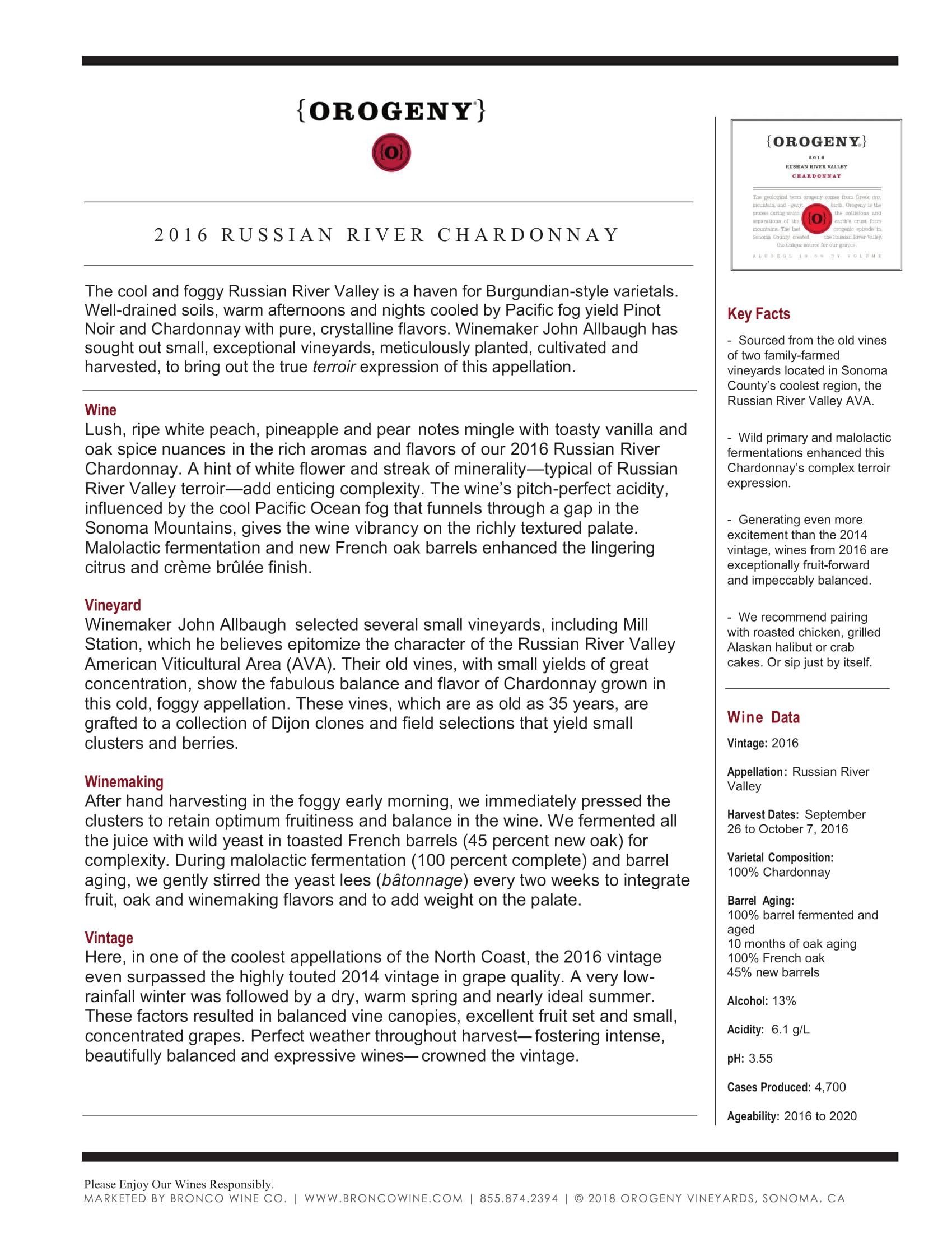 Orogeny Chardonnay Tech Sheet