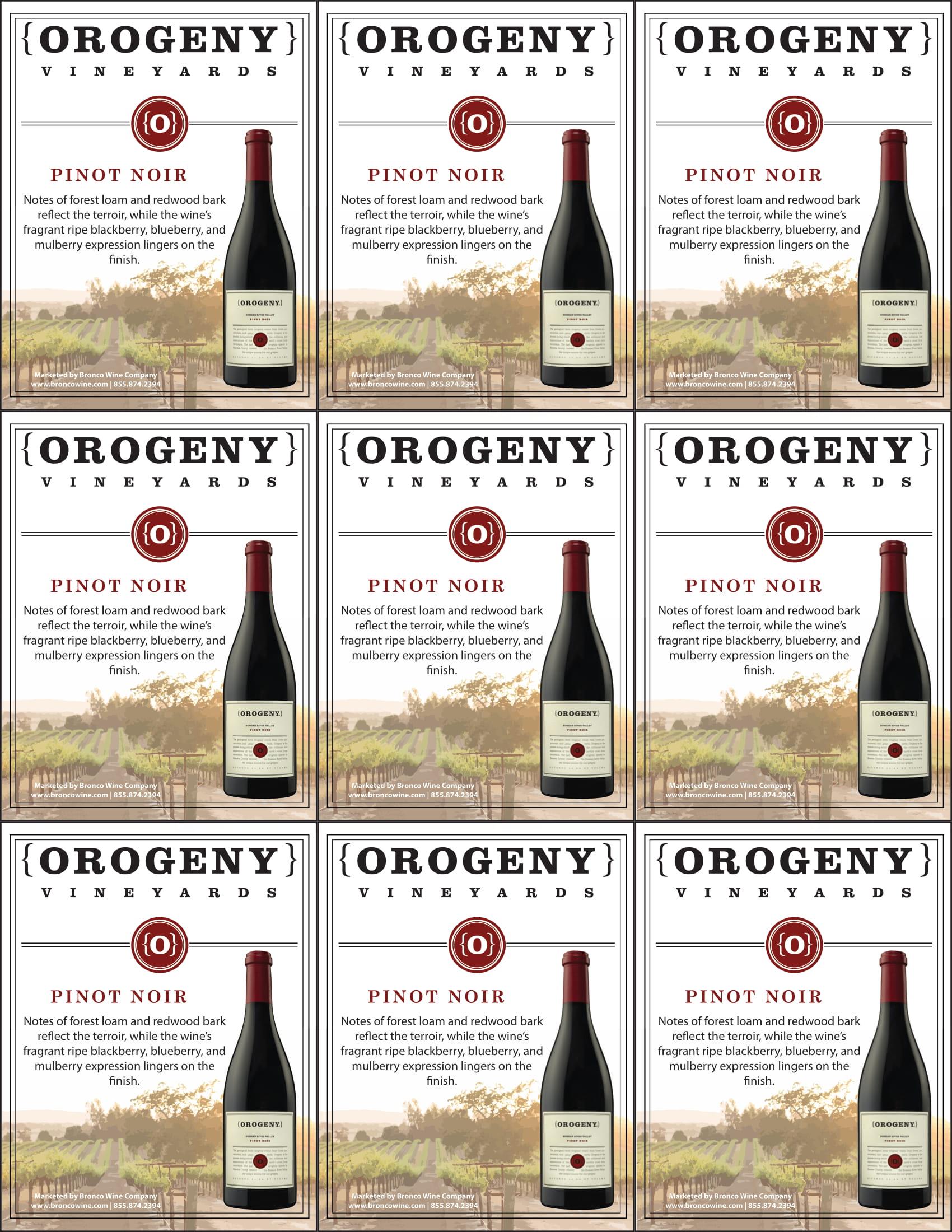 Orogeny Pinot Noir Shelf Talker