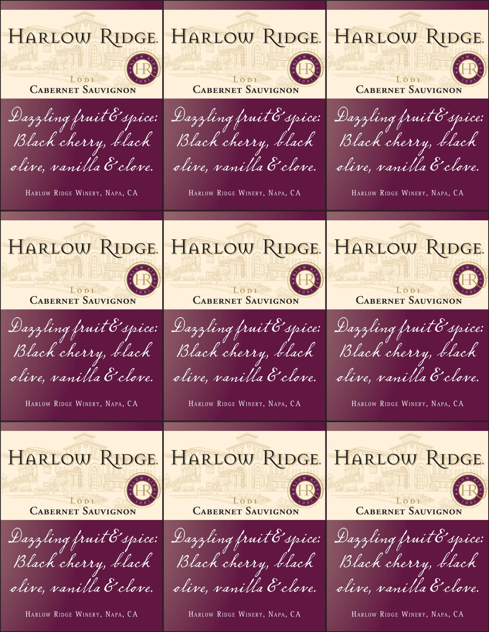 Harlow Ridge Cabernet Sauvignon Shelf Talker