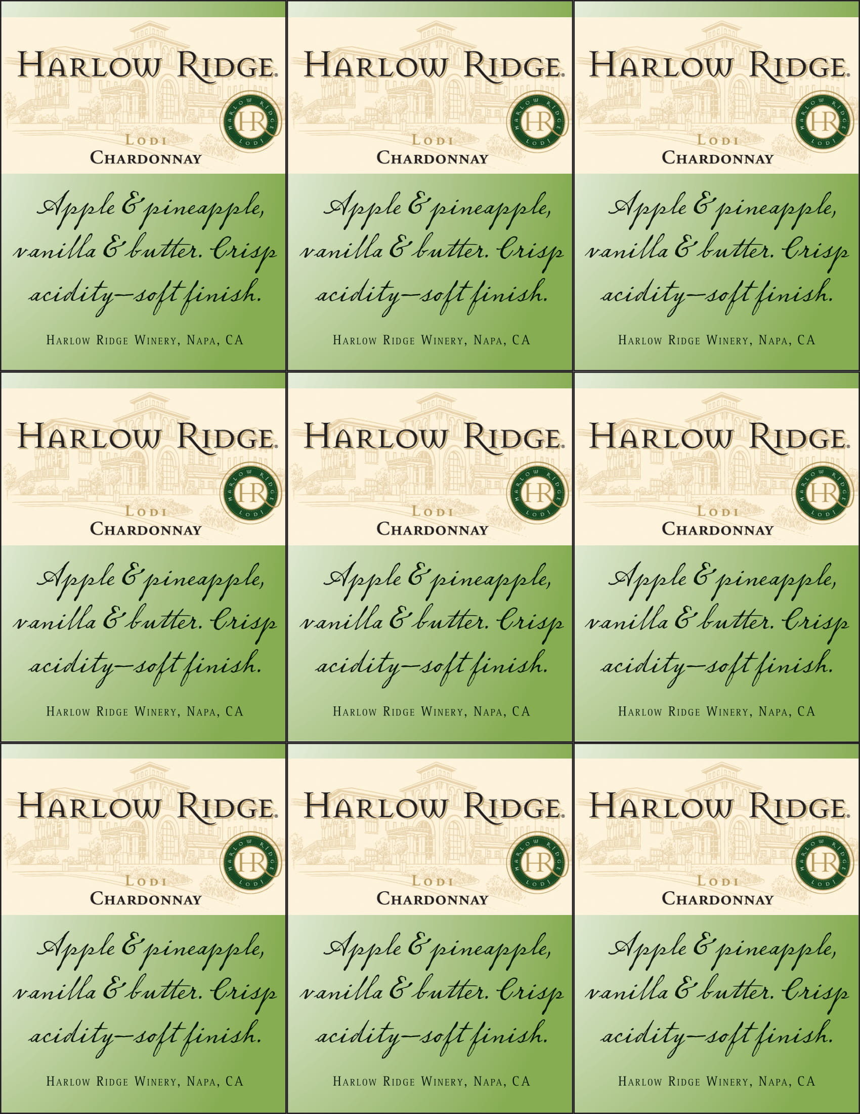 Harlow Ridge Chardonnay Shelf Talker