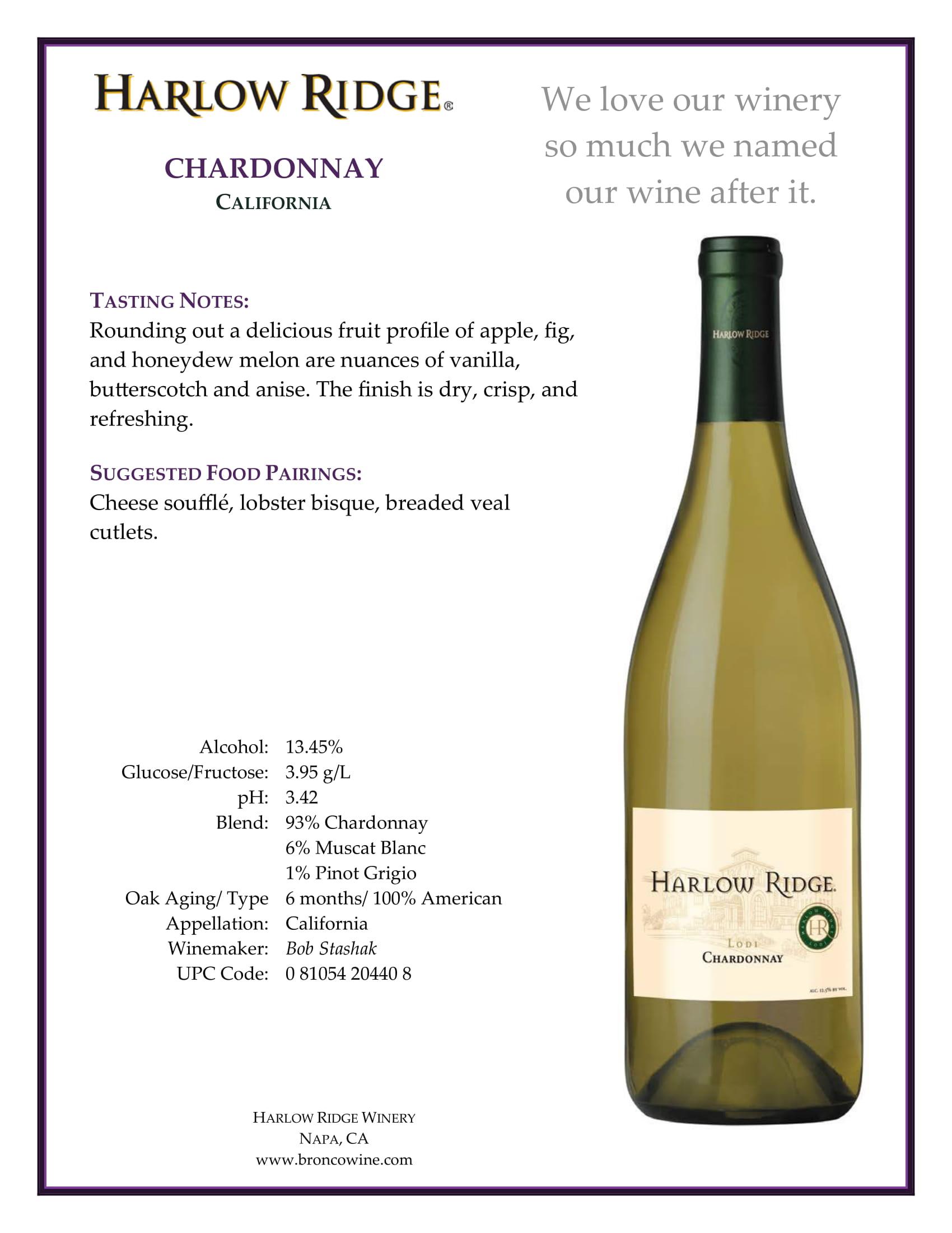 Harlow Ridge Chardonnay Tech Sheet