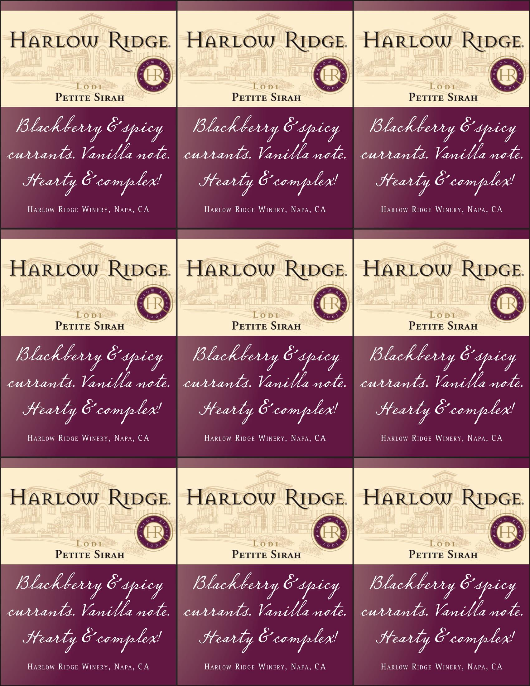 Harlow Ridge Petite Sirah Shelf Talker