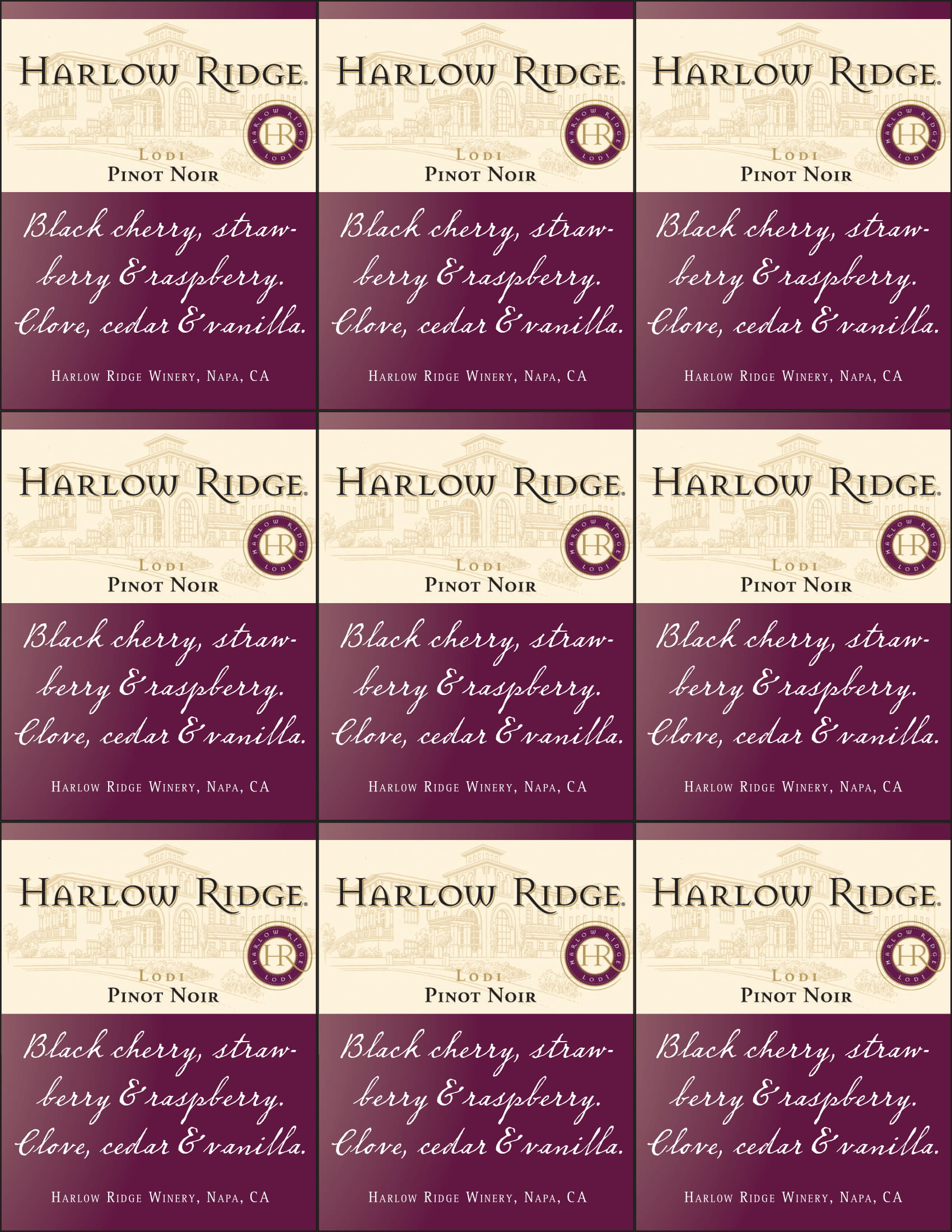 Harlow Ridge Pinot Noir Shelf Talker