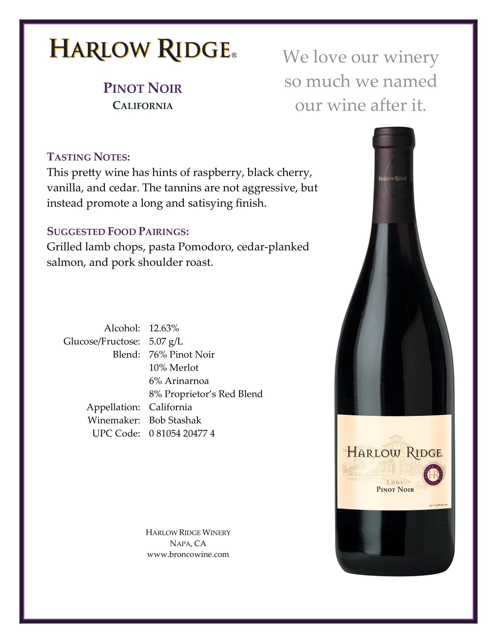 Harlow Ridge Pinot Noir Tech Sheet
