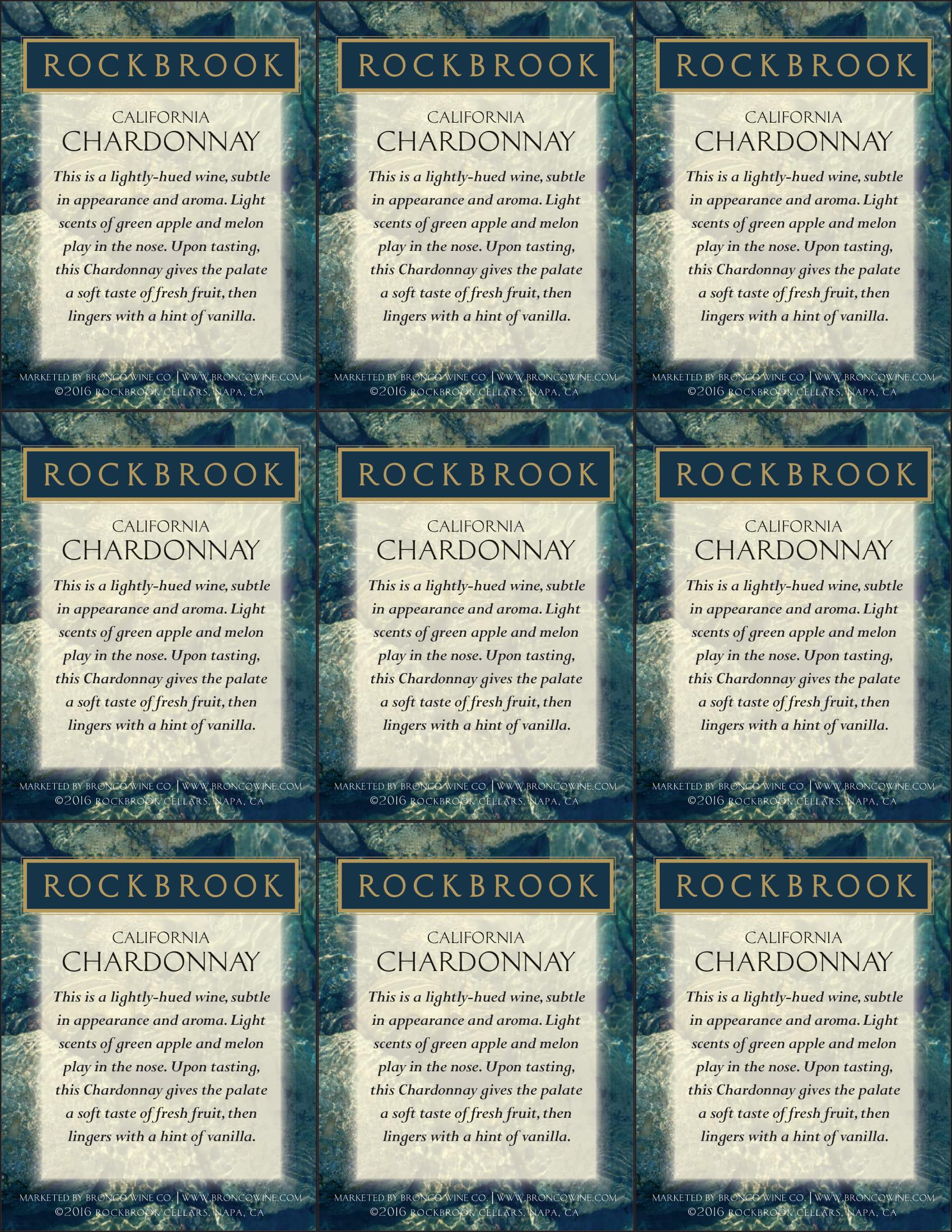 Rockbrook Cellars Chardonnay Shelf Talkers