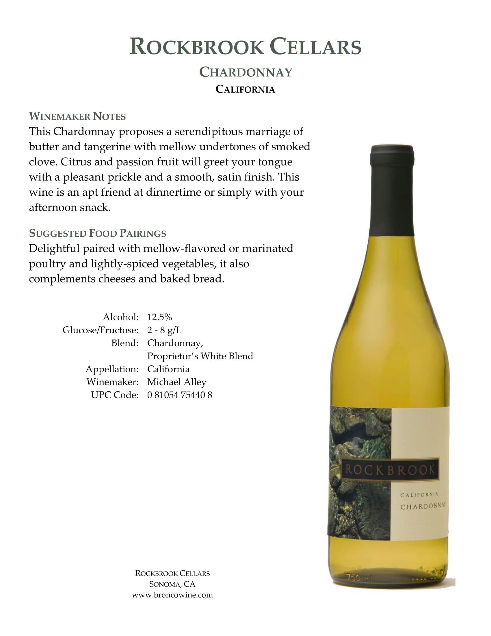 Rockbrook Cellars Chardonnay Tech Sheet