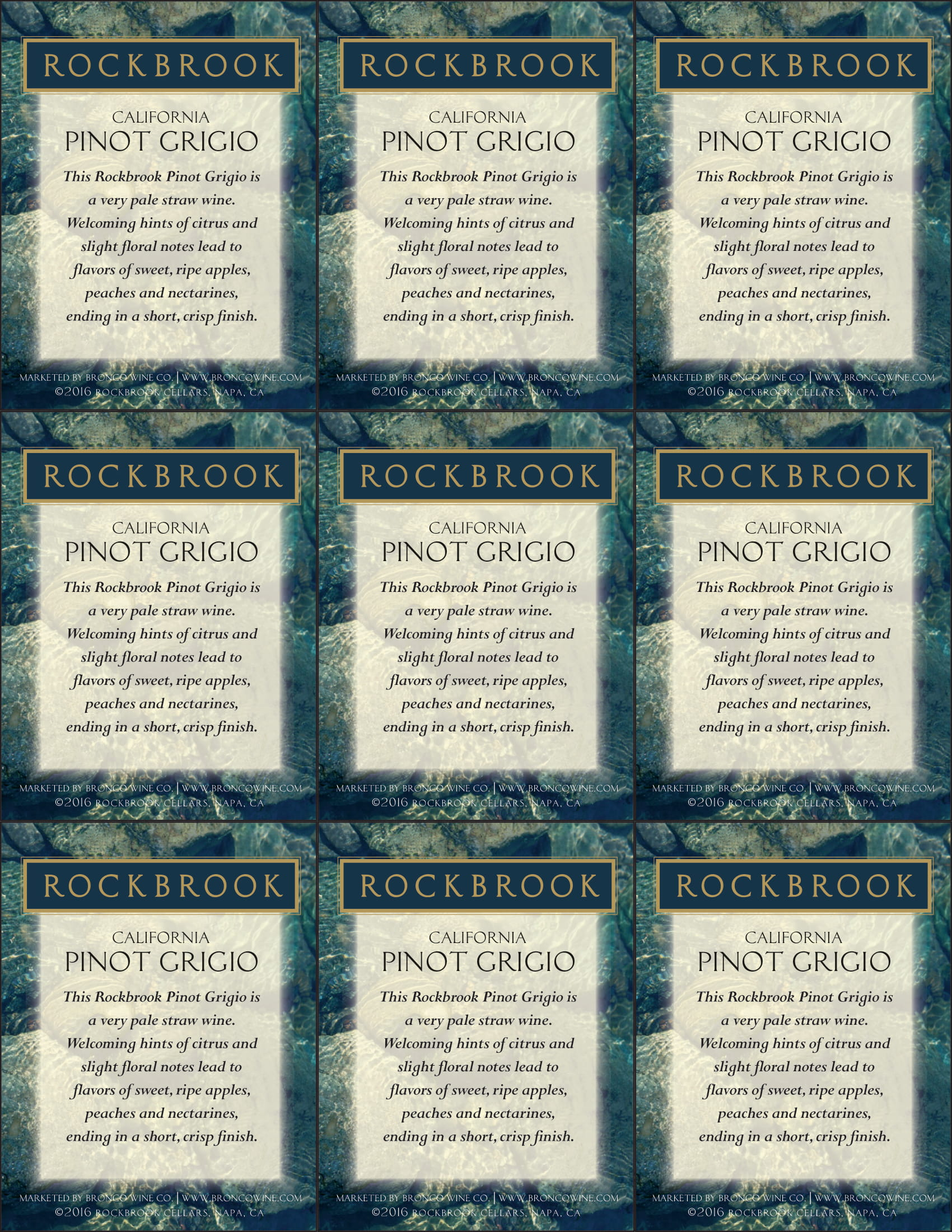 Rockbrook Cellars Pinot Grigio Shelf Talkers