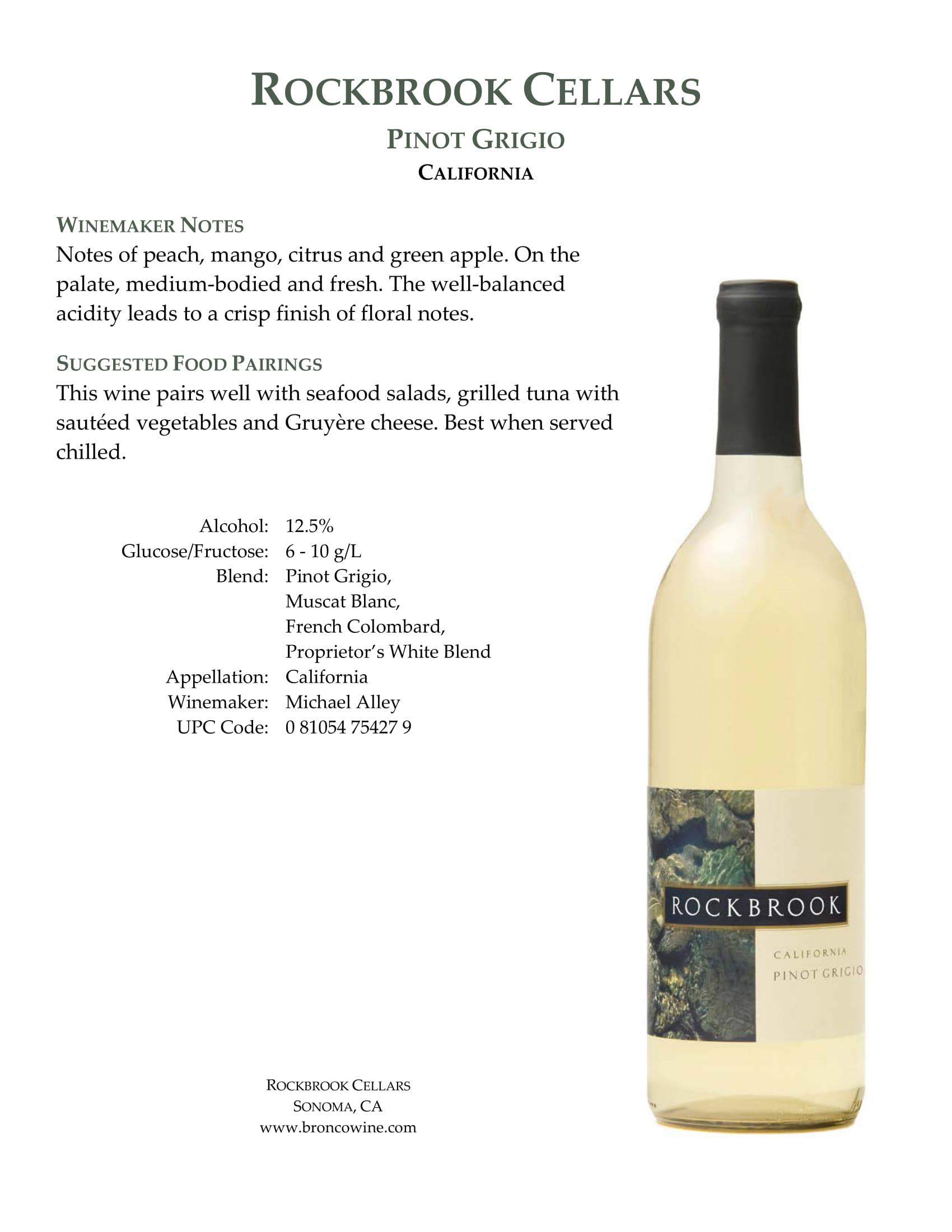 Rockbrook Cellars Pinot Grigio Tech Sheet