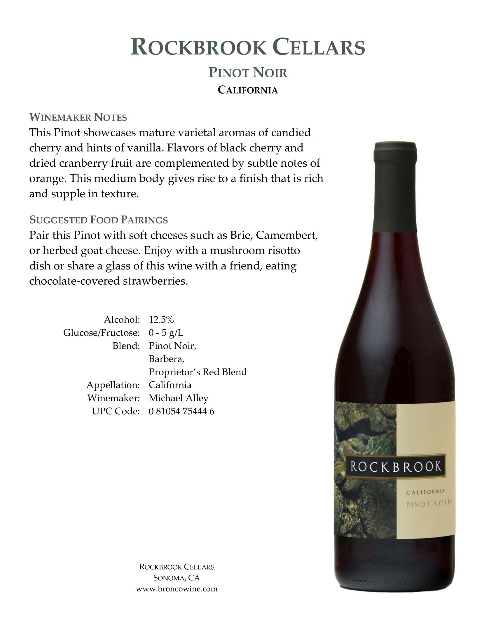 Rockbrook Cellars Pinot Noir Tech Sheet