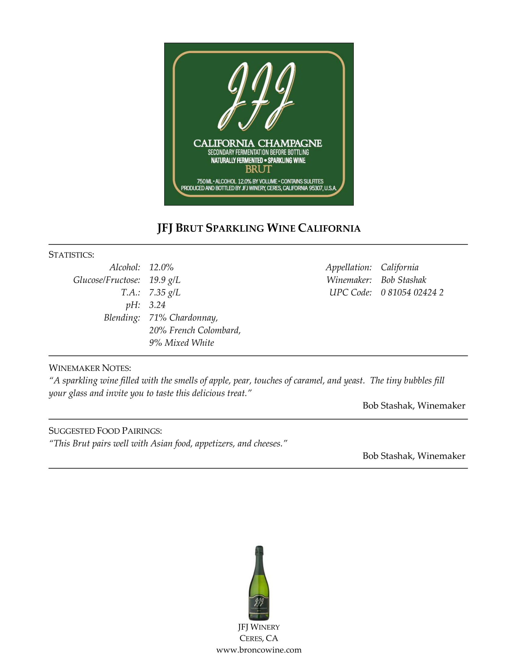 JFJ Winery Brut Tech Sheet