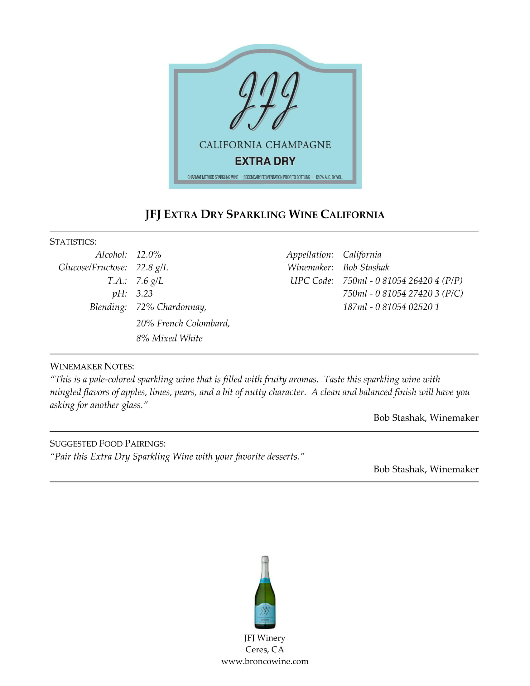 JFJ Winery Extra Dry Brut Tech Sheet