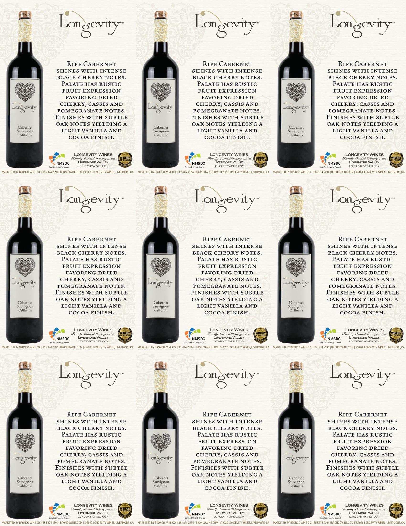 Longevity Cabernet Sauvignon Shelf Talkers
