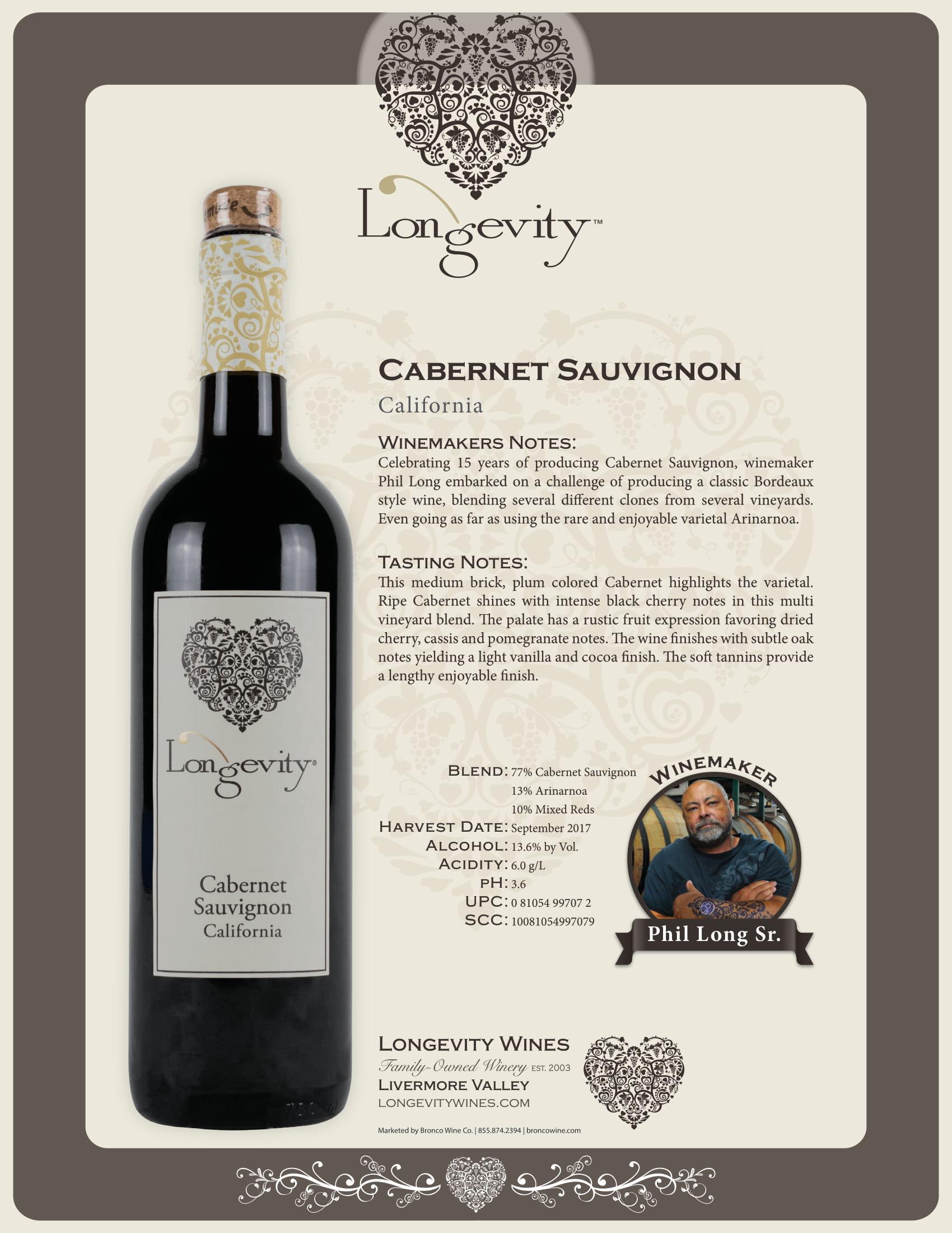 Longevity Cabernet Sauvignon Tech Sheet