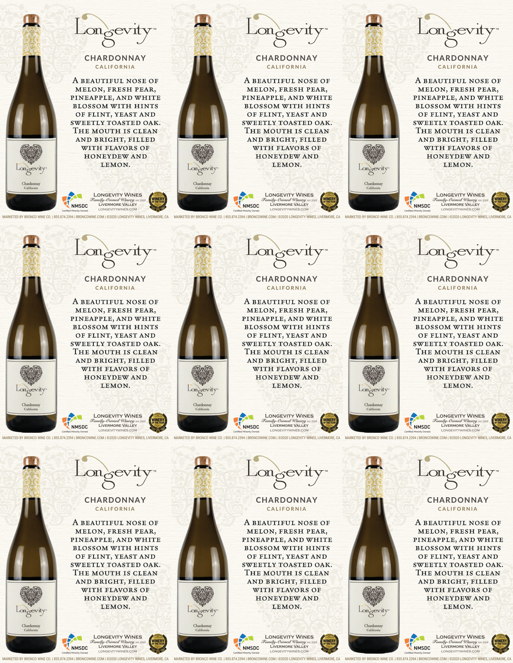 Longevity Chardonnay Shelf Talkers