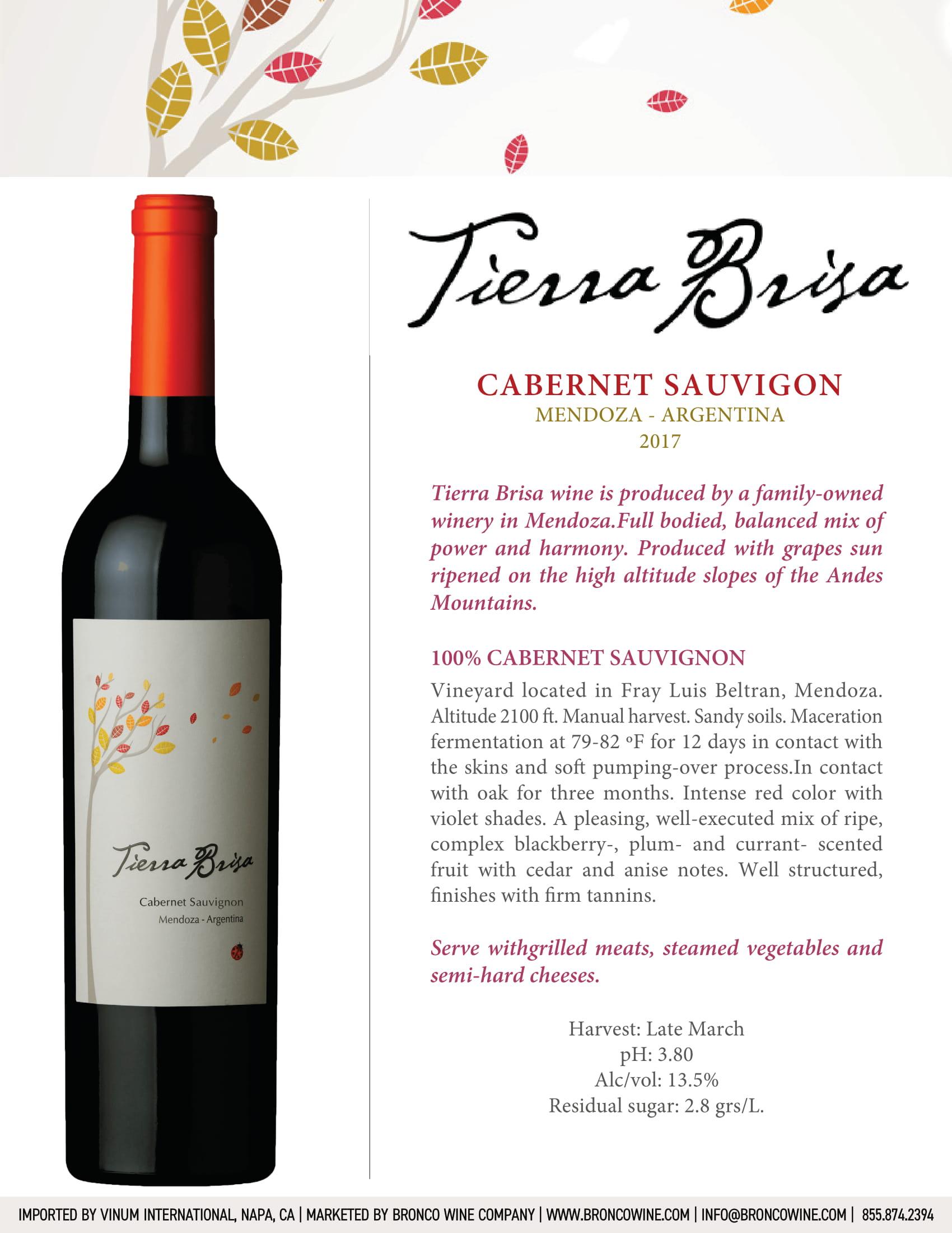 Tierra Brisa Cabernet Sauvignon Tech Sheet