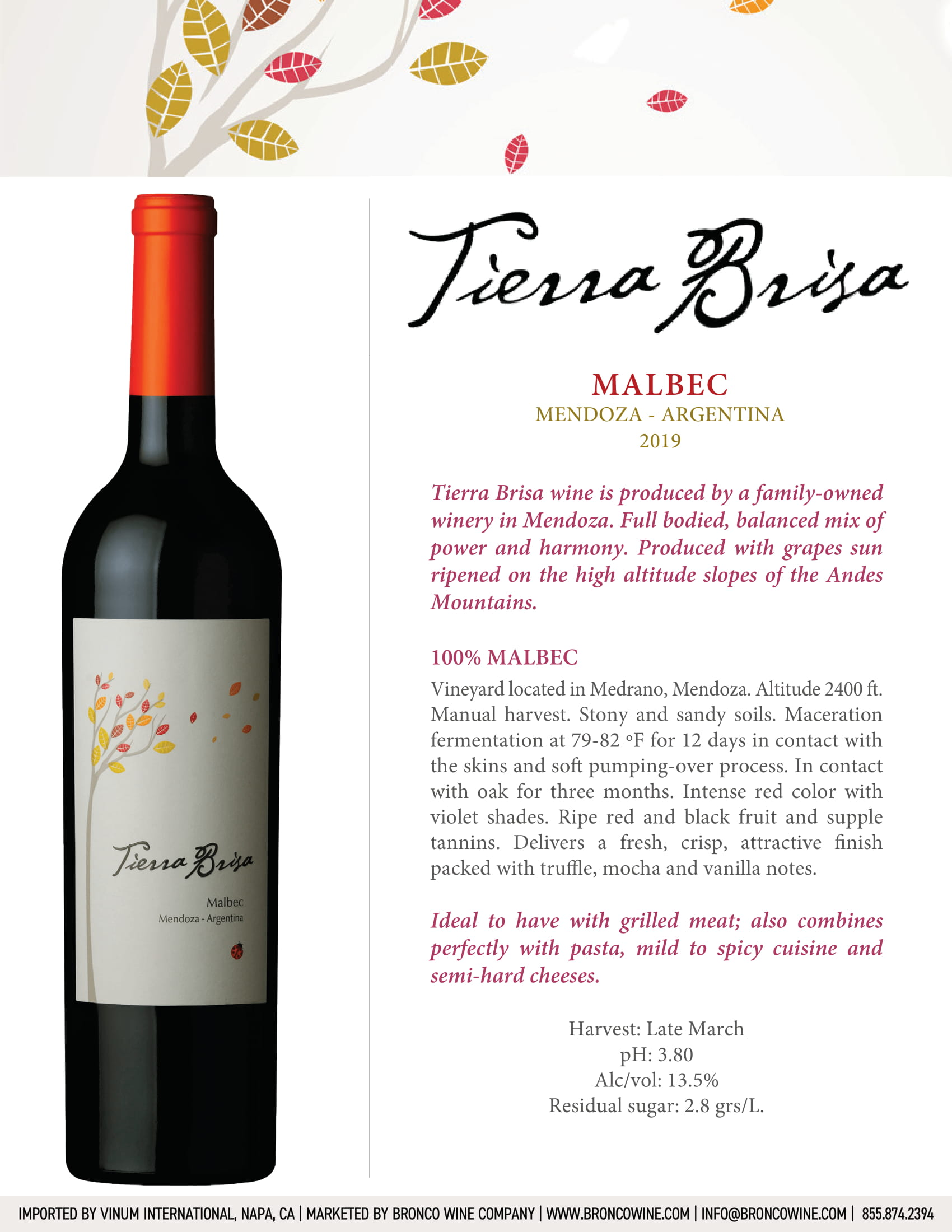 Tierra Brisa Malbec Tech Sheet