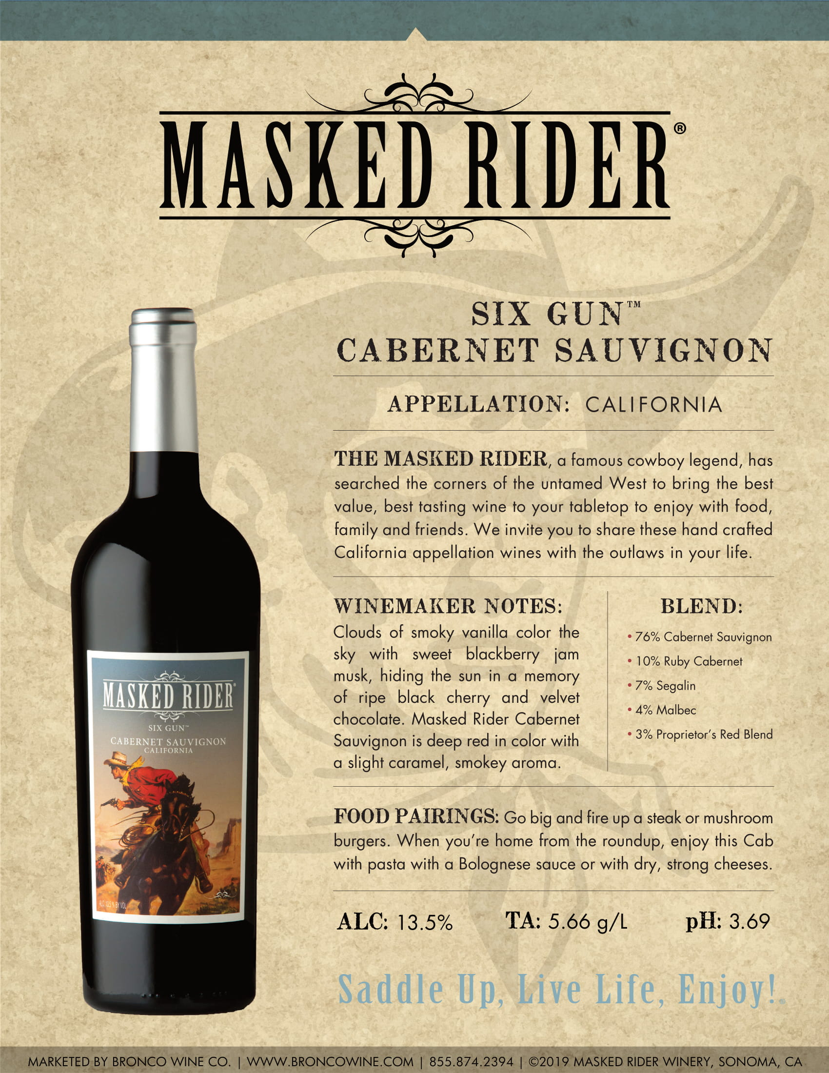 Masked Rider Six Gun Cabernet Sauvignon Tech Sheet