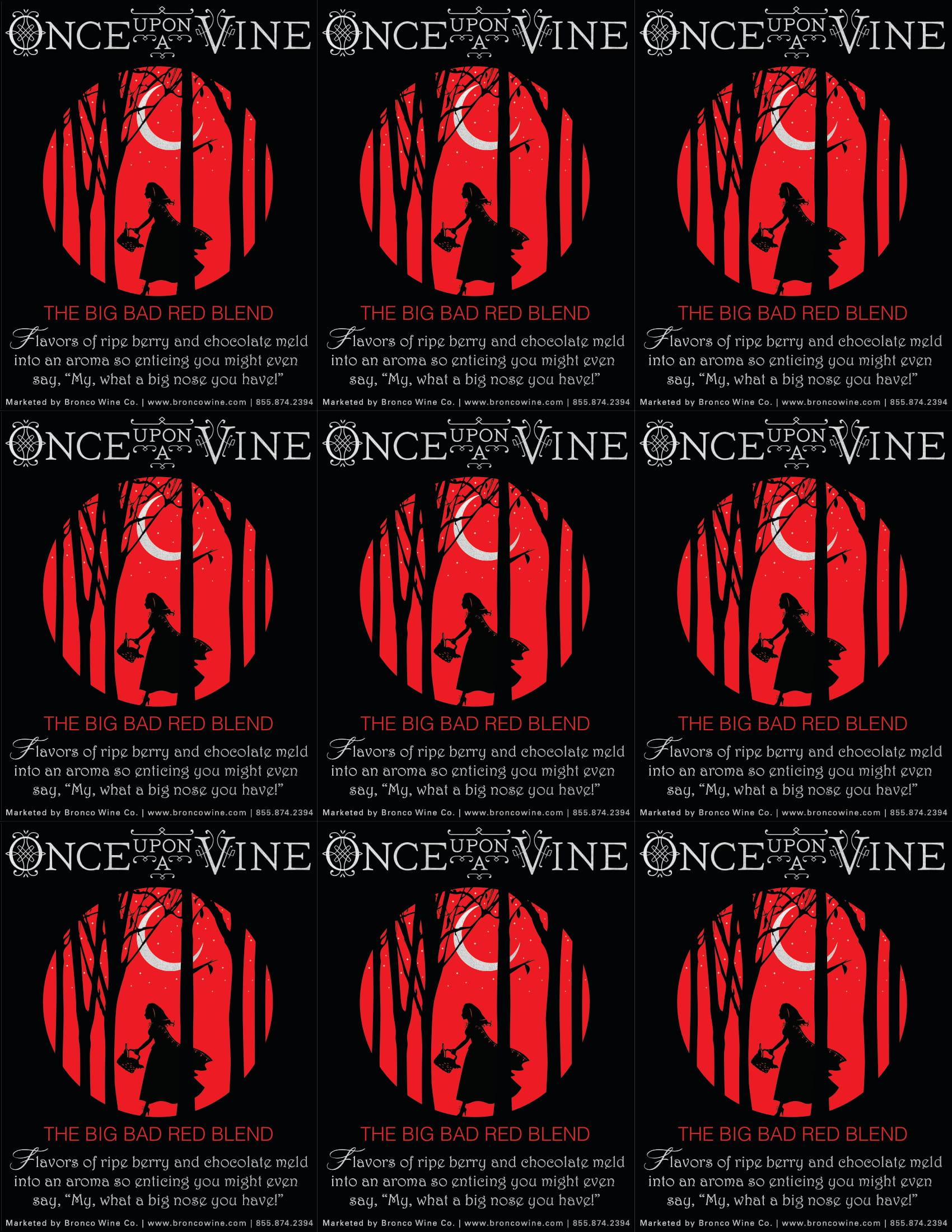 Once Upon A Vine Big Bad Red Blend Shelf Talker