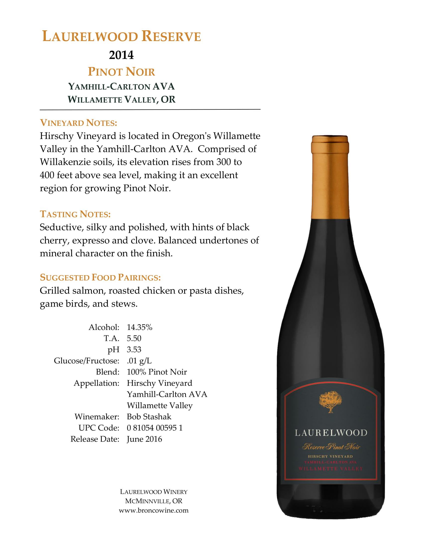 Laurelwood Reserve Pinot Noir Tech Sheet