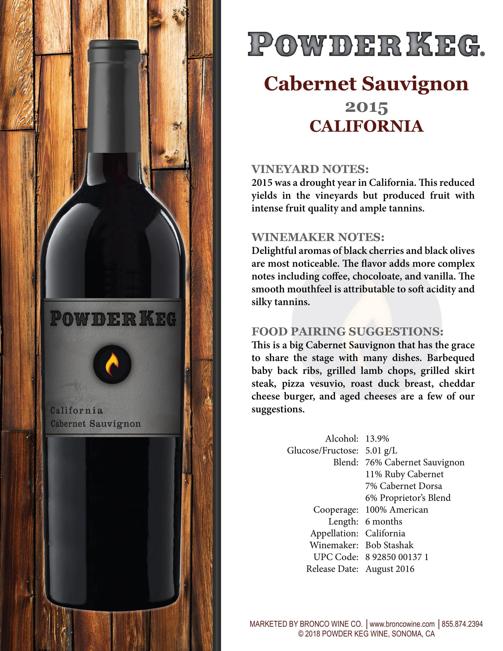Powder Keg Cabernet Sauvignon Tech Sheet
