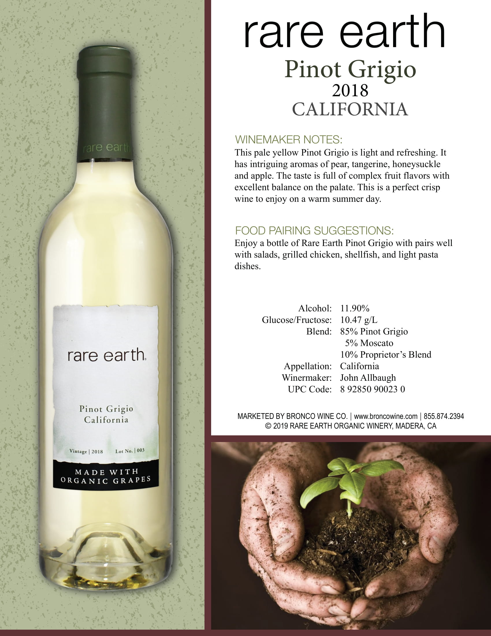 Rare Earth Pinot Grigio Tech Sheet