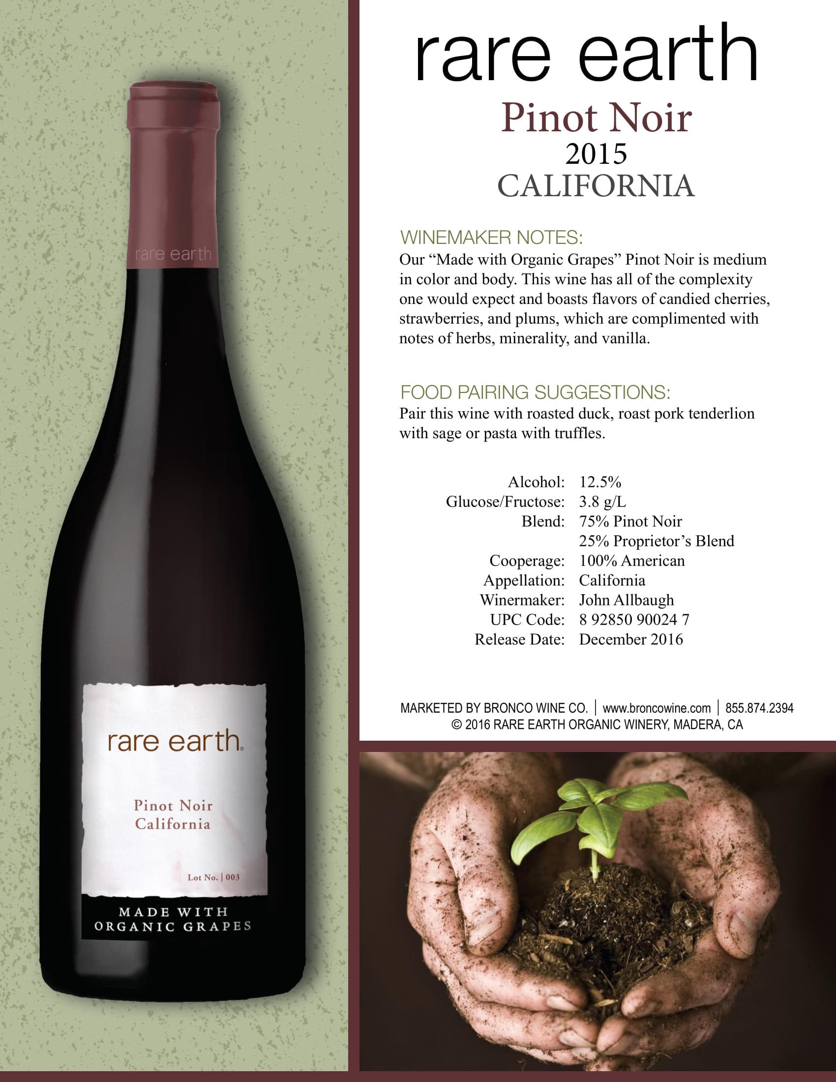 Rare Earth Pinot Noir Tech Sheet