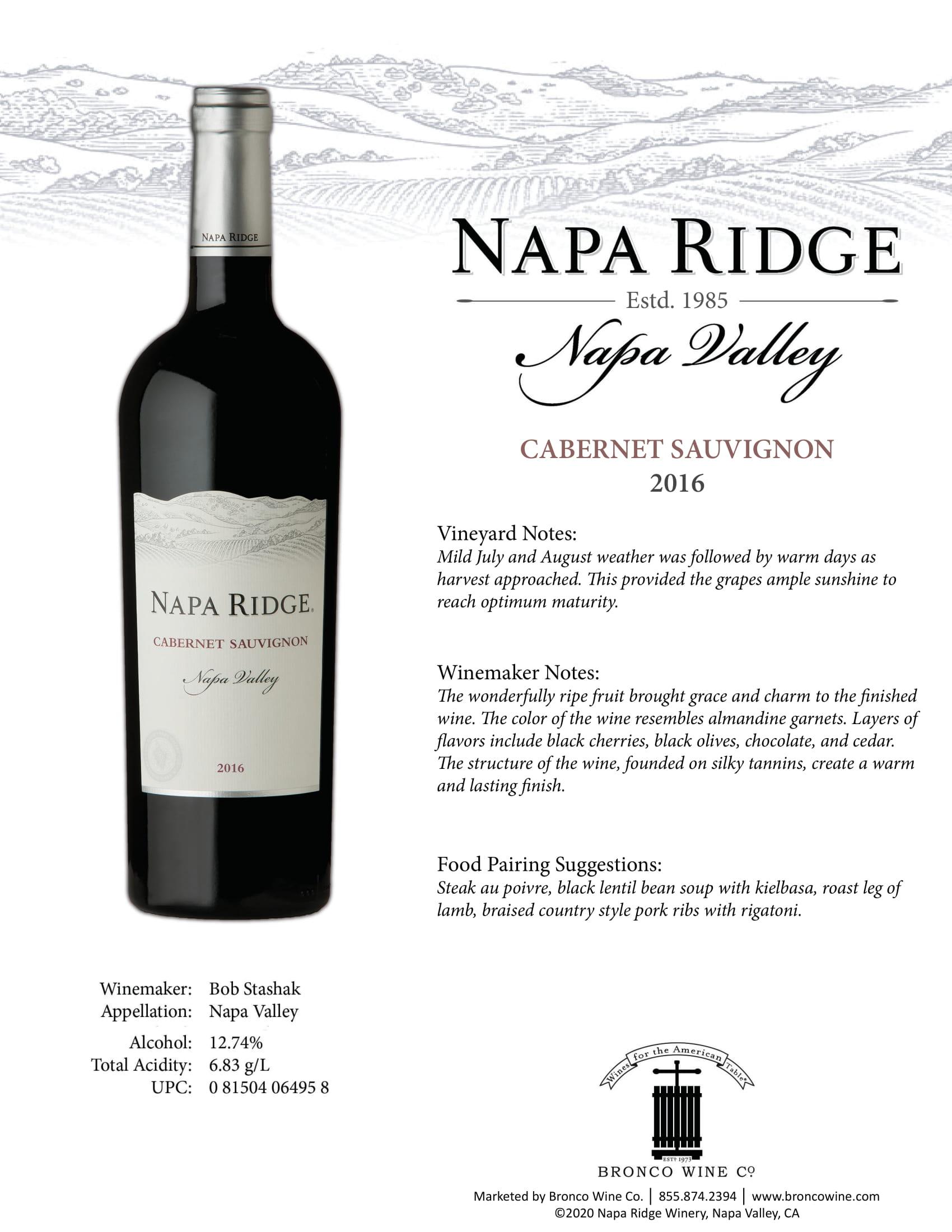 Napa Ridge Cabernet Sauvignon Tech Sheet