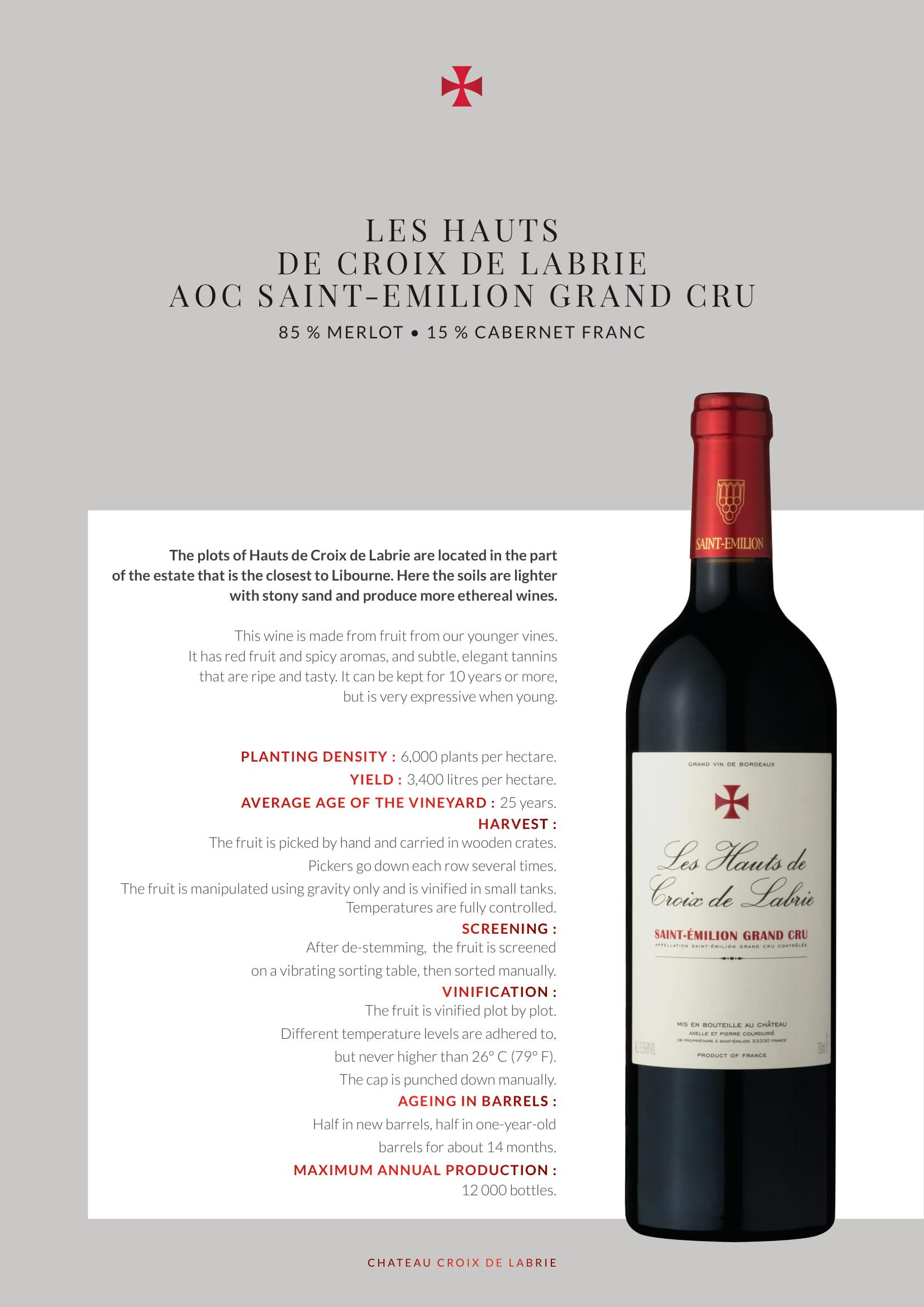 La Fleur Hauts de Croix de Labrie Bordeaux Tech Sheet