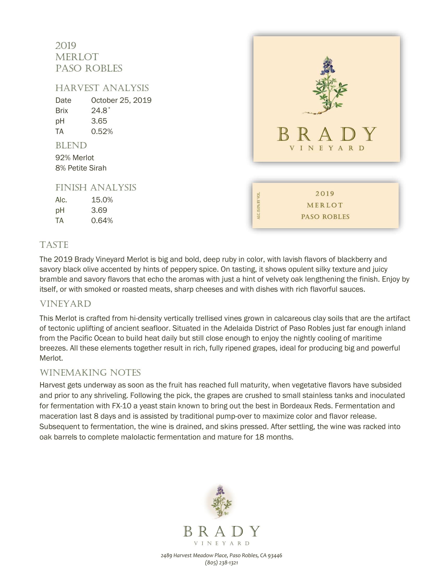 Brady Vineyards Merlot Sell Sheet