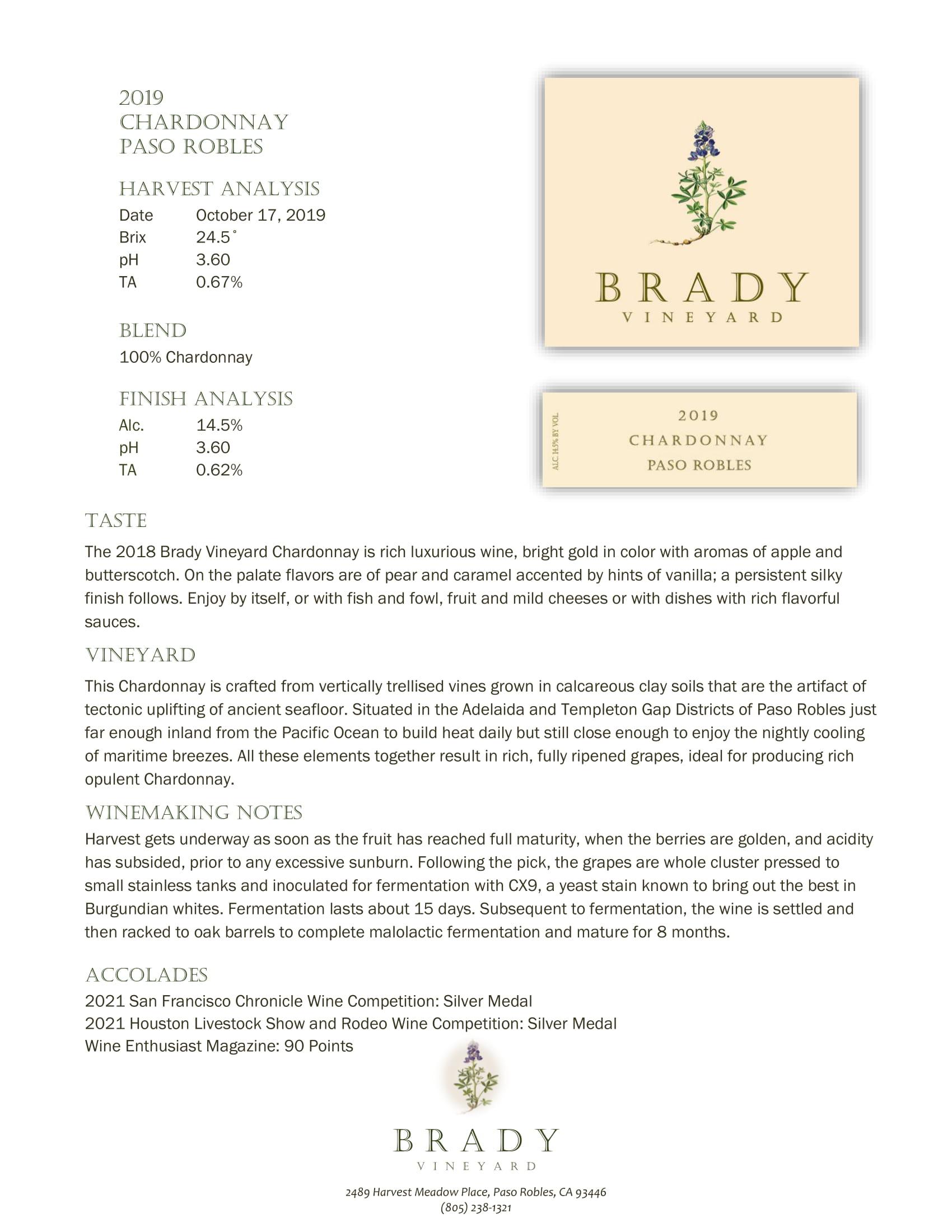 Brady Vineyards Chardonnay Sell Sheet