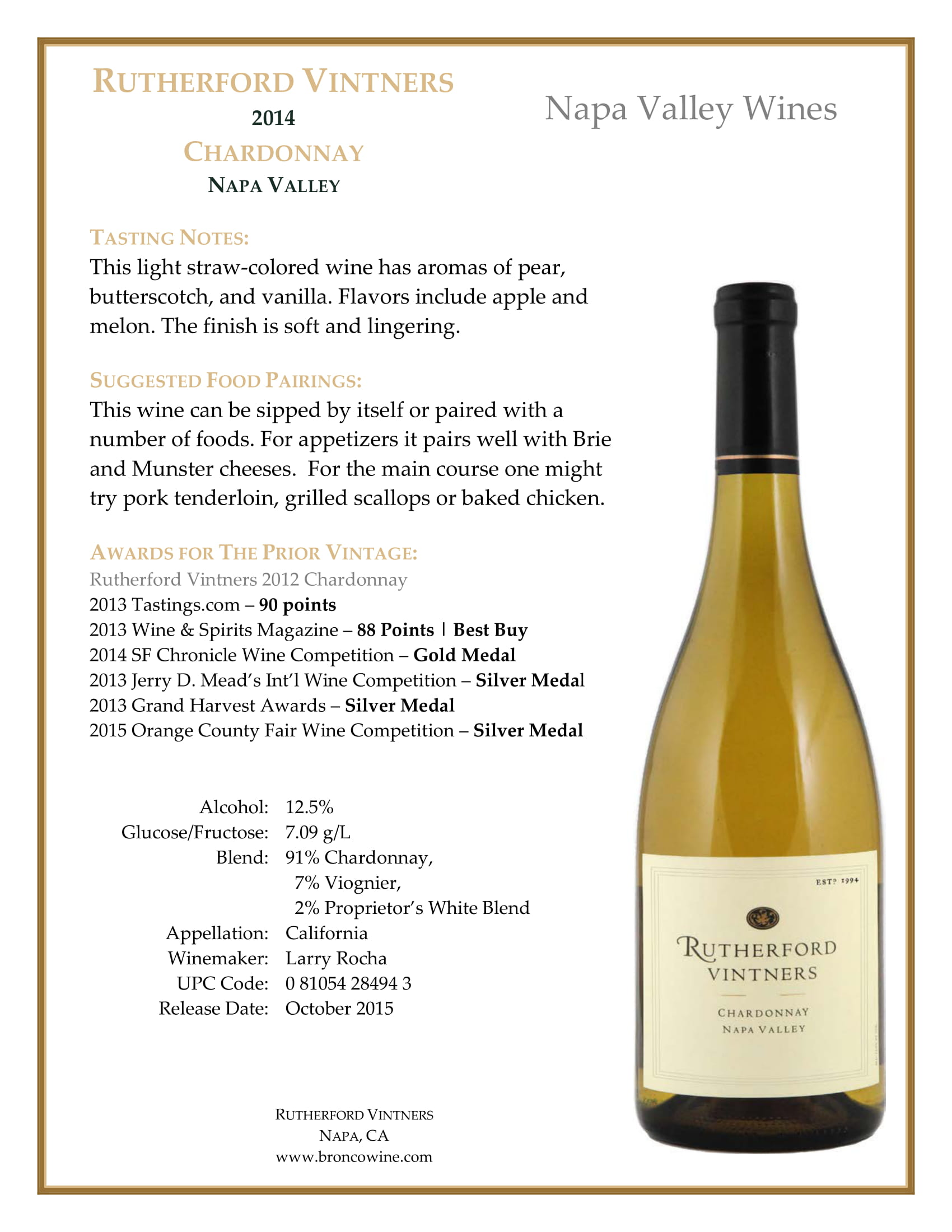 Rutherford Vintners Chardonnay Tech Sheet