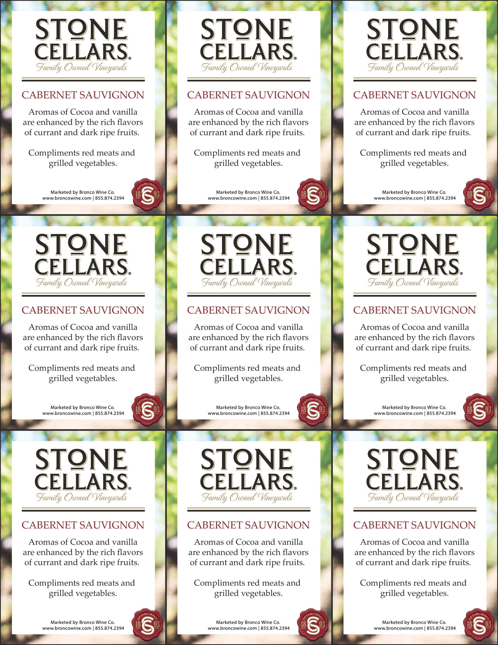Stone Cellars Cabernet Sauvignon Shelf Talker