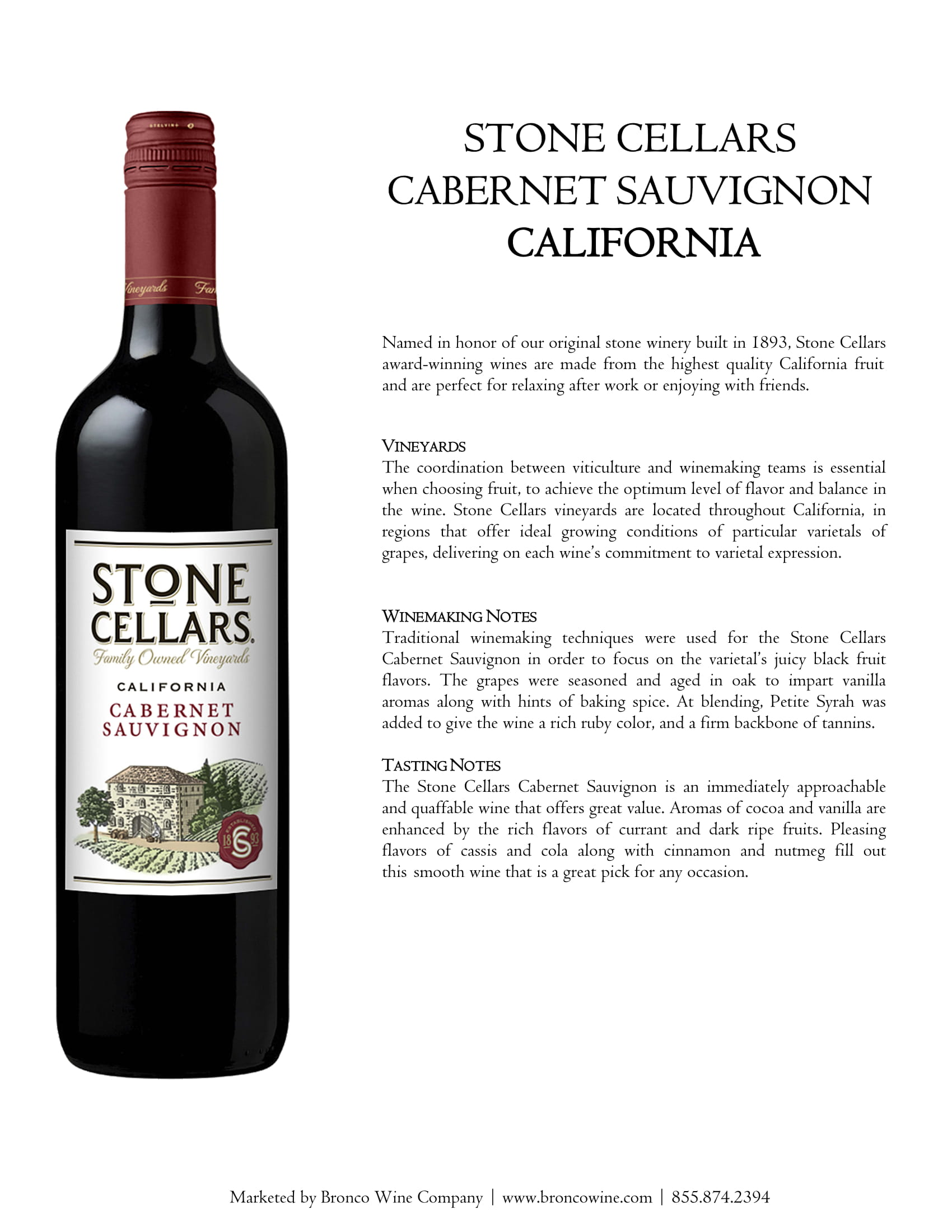 Stone Cellars Cabernet Sauvignon Tech Sheet