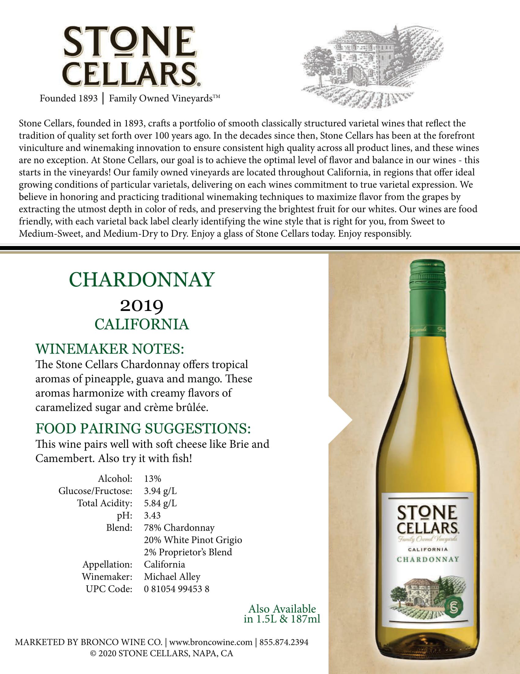 Stone Cellars Chardonnay Tech Sheet