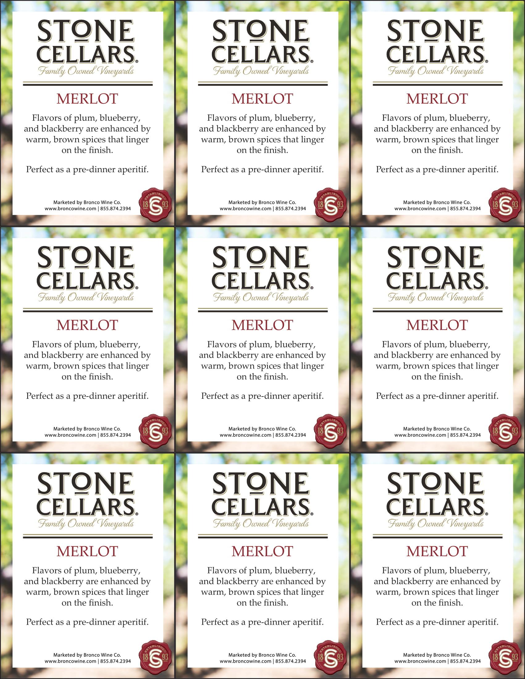 Stone Cellars Merlot Shelf Talker