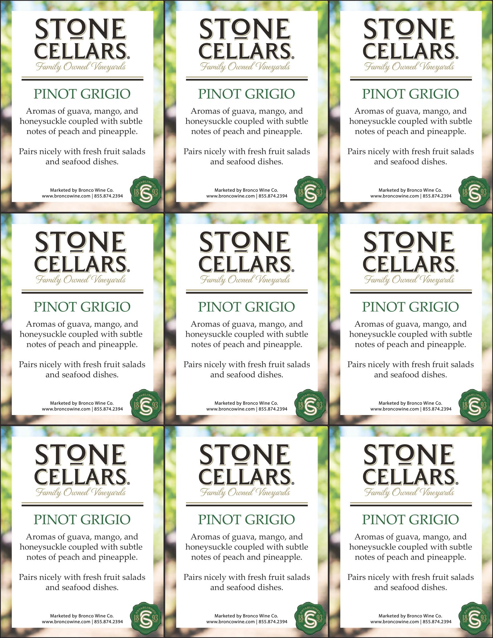 Stone Cellars Pinot Grigio Shelf Talker