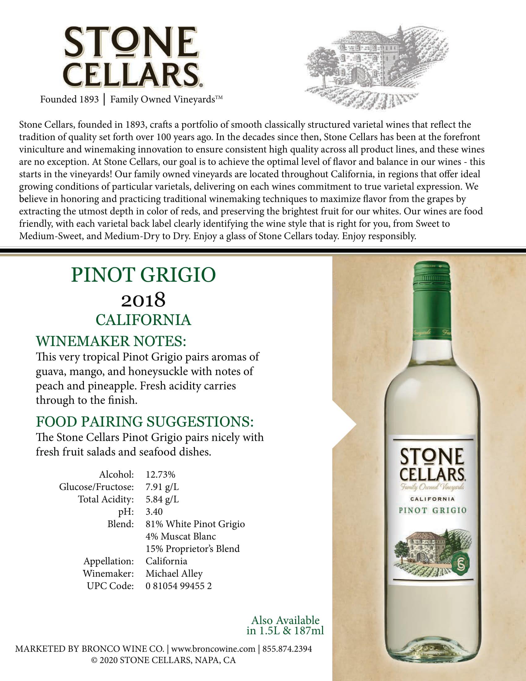 Stone Cellars Pinot Grigio Tech Sheet