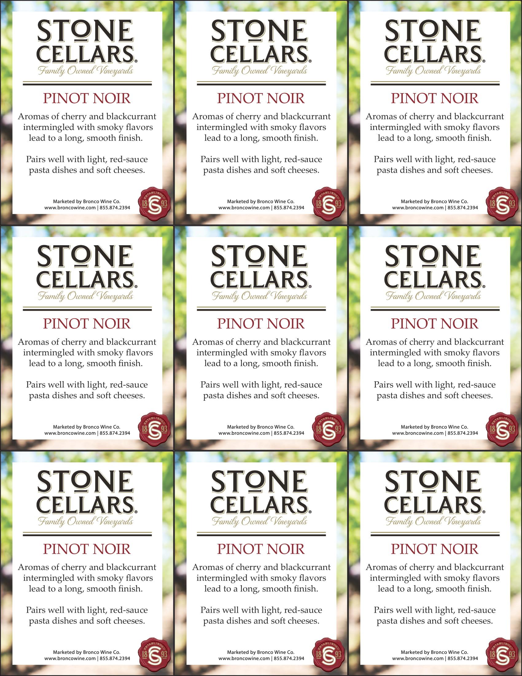Stone Cellars Pinot Noir Shelf Talker