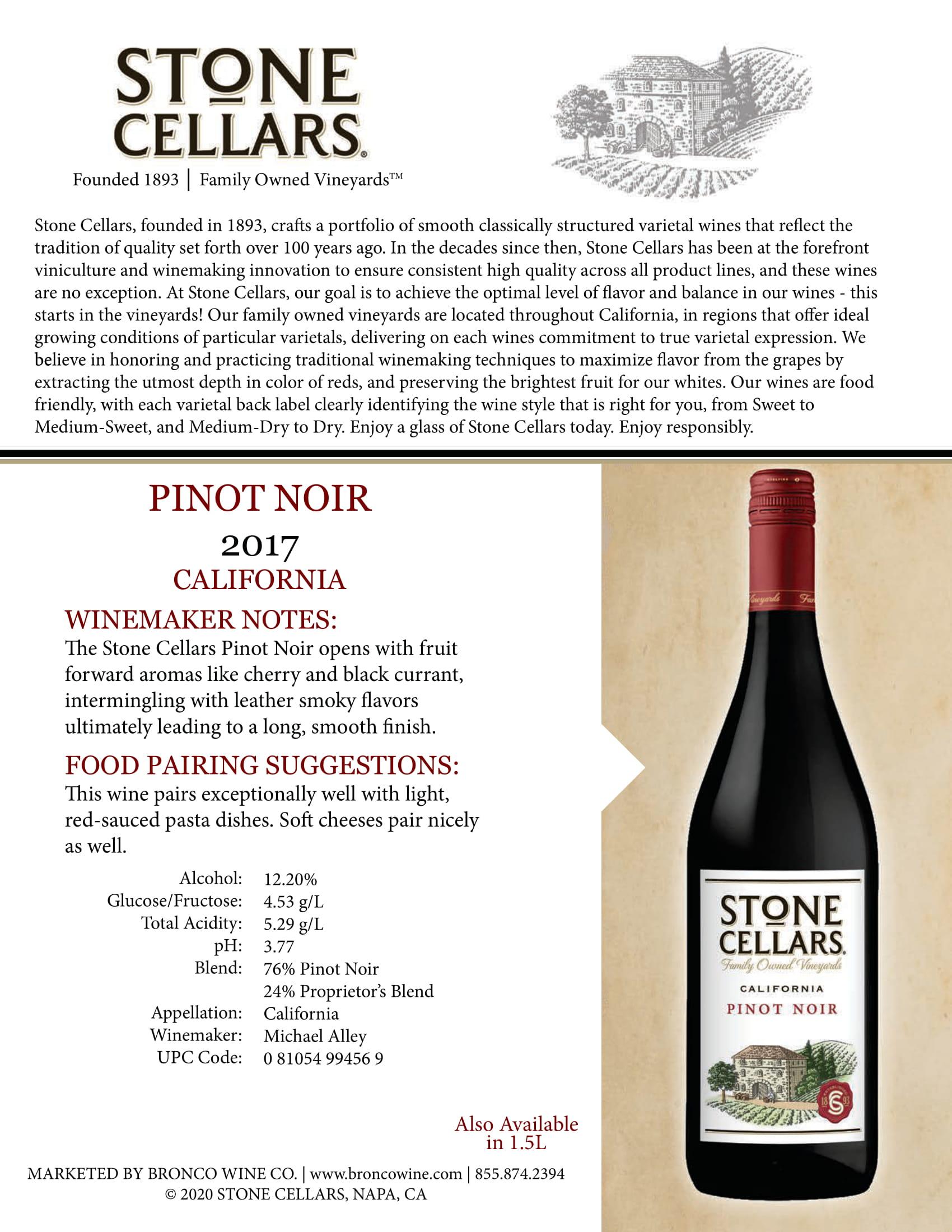 Stone Cellars Pinot Noir Tech Sheet