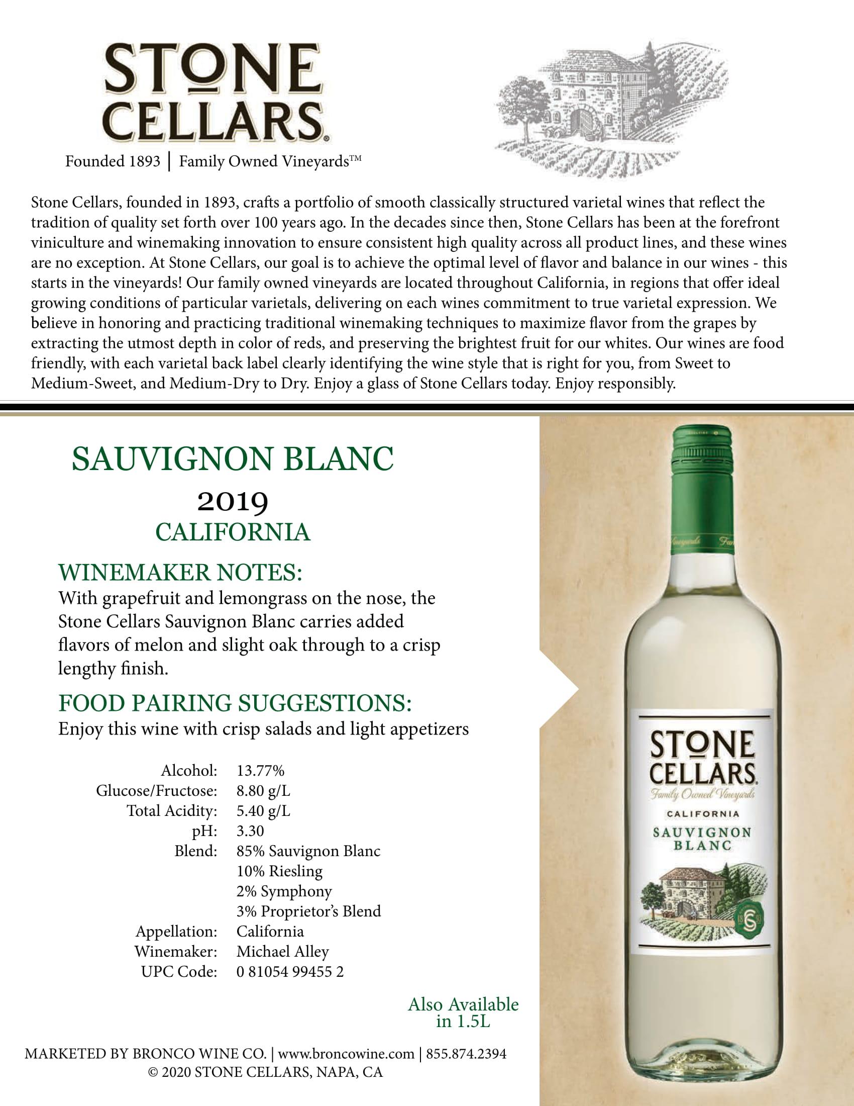 Stone Cellars Sauvignon Blanc Tech Sheet