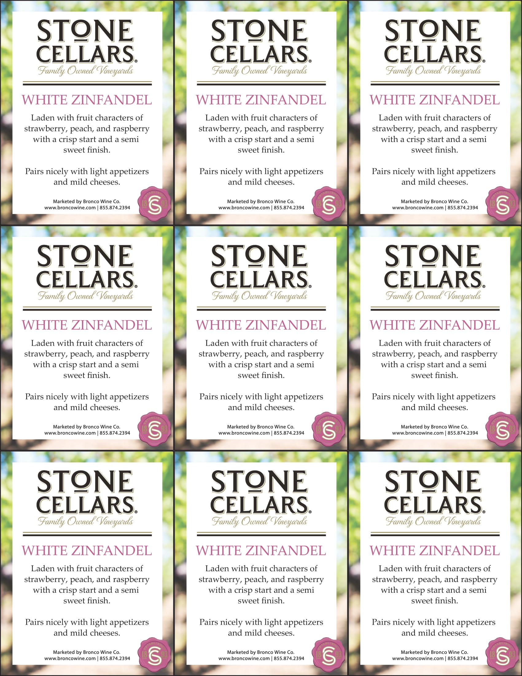 Stone Cellars White Zinfandel Shelf Talker