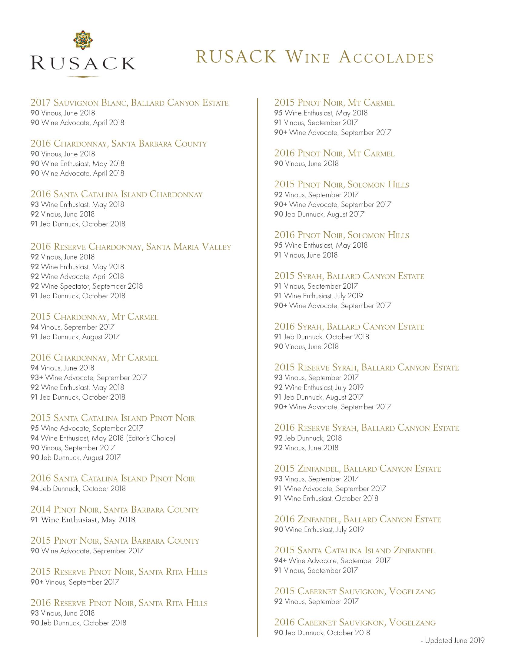 Rusack Vineyards Accolade Sheet